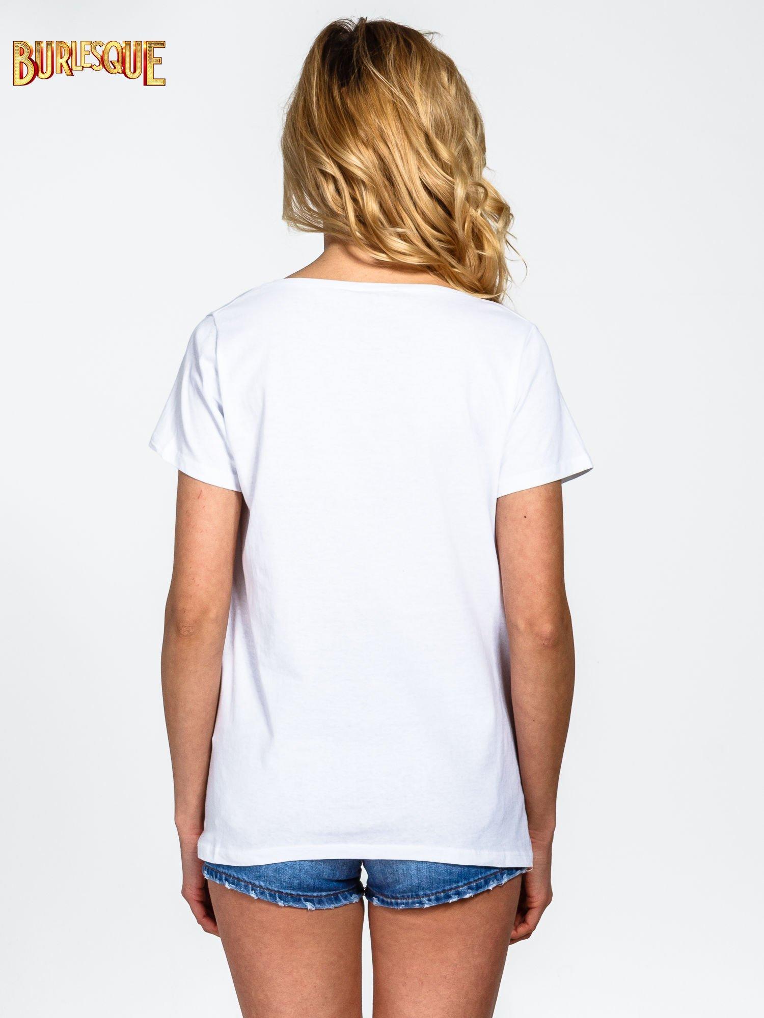 Biały gładki t-shirt z okrągłym dekoltem                                  zdj.                                  4
