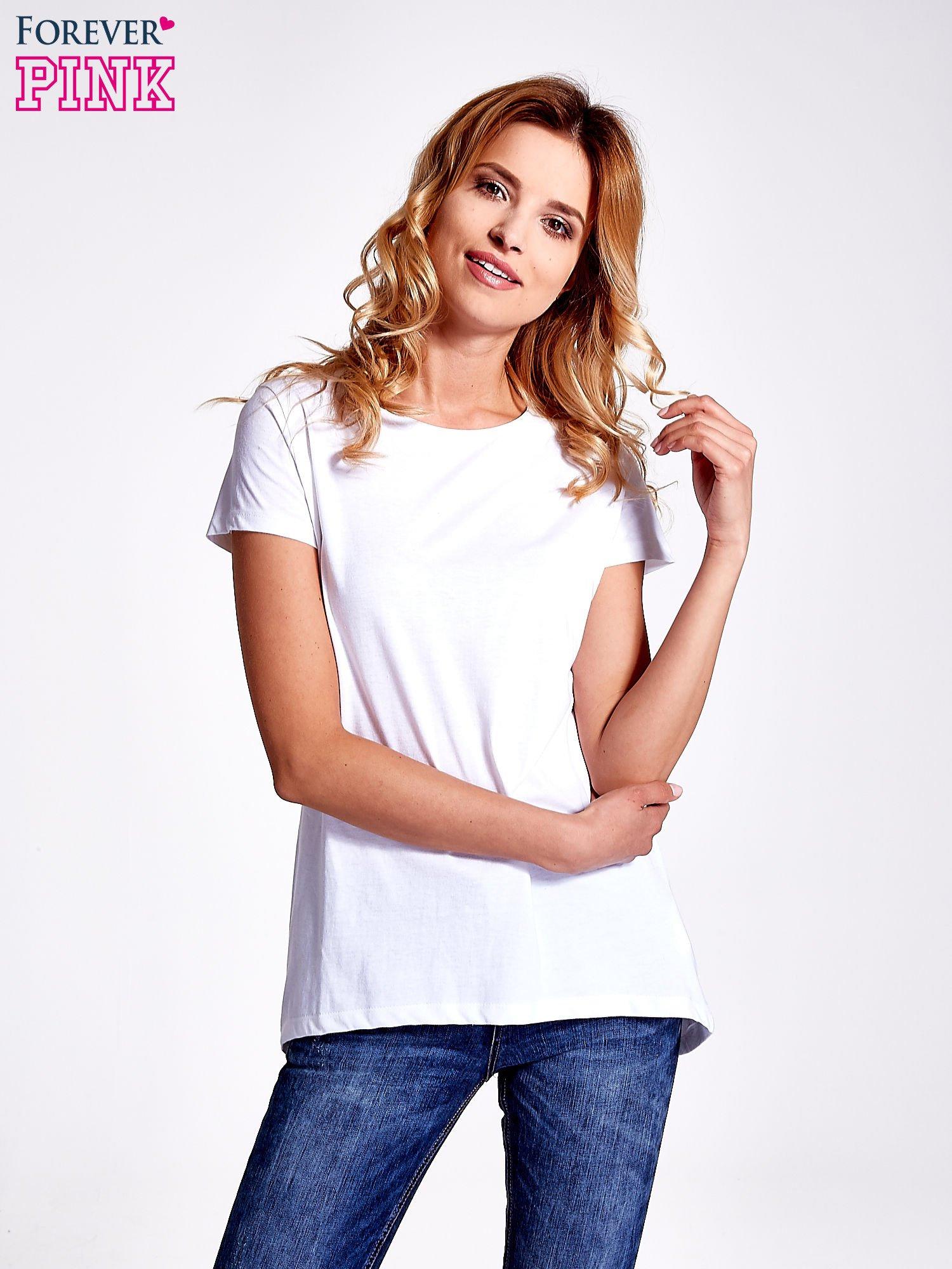 Biały jednolity t-shirt                                  zdj.                                  1