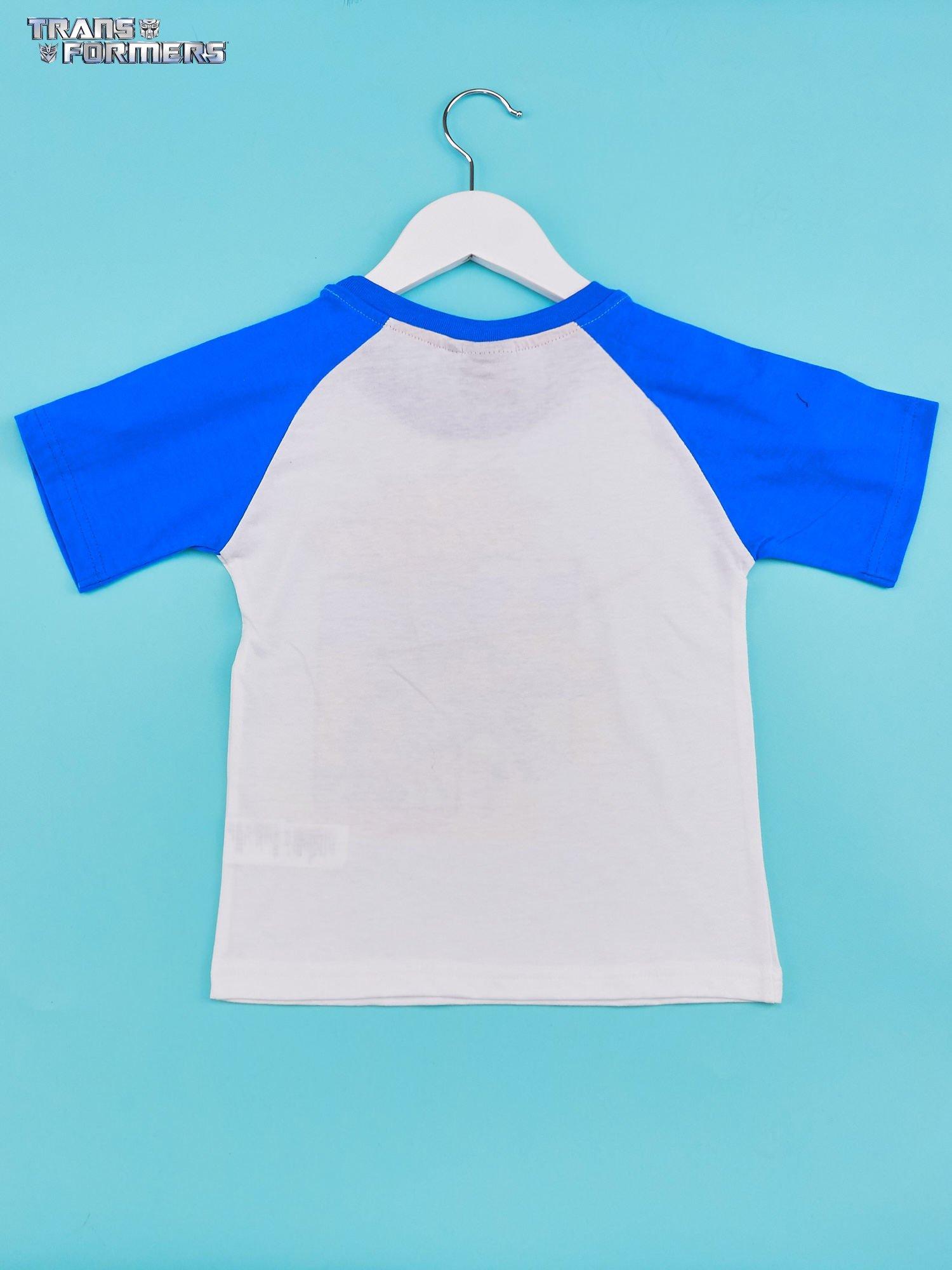 Biały t-shirt chłopięcy z nadrukiem TRANSFORMERS                                  zdj.                                  2