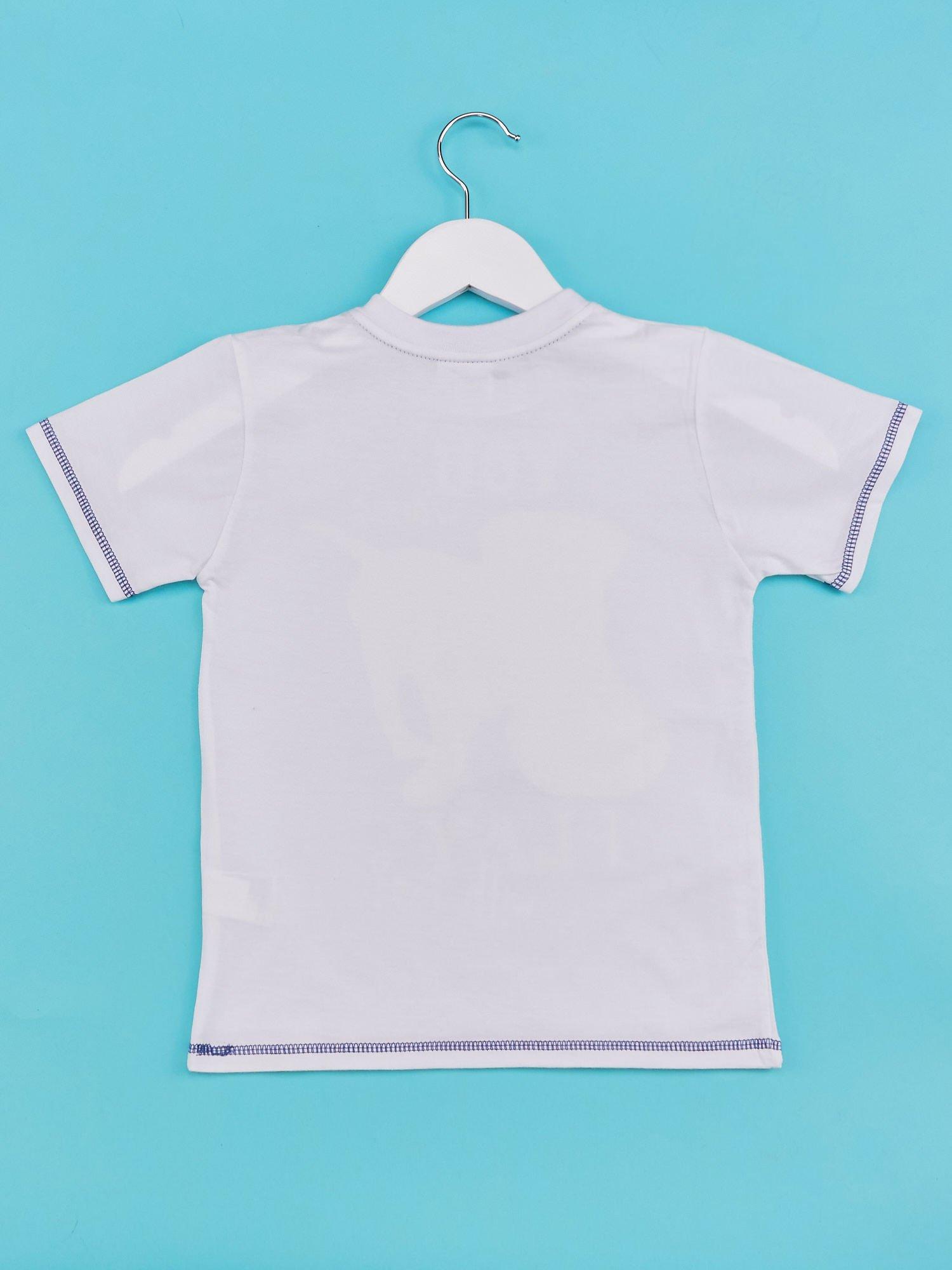 Biały t-shirt chłopięcy z nadrukiem szczeniaczka                                  zdj.                                  2