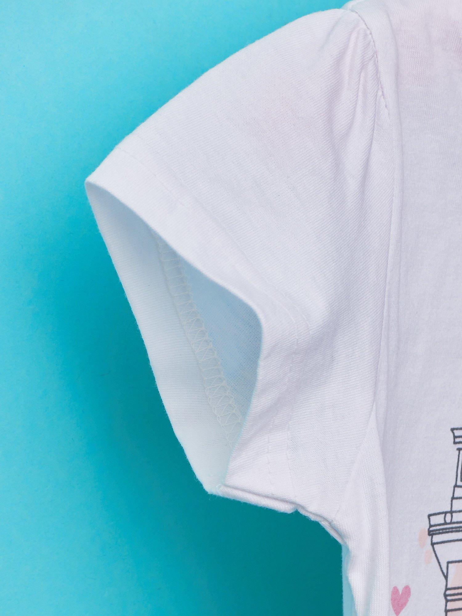 Biały t-shirt dla dziewczynki z motywem francuskim                                  zdj.                                  5