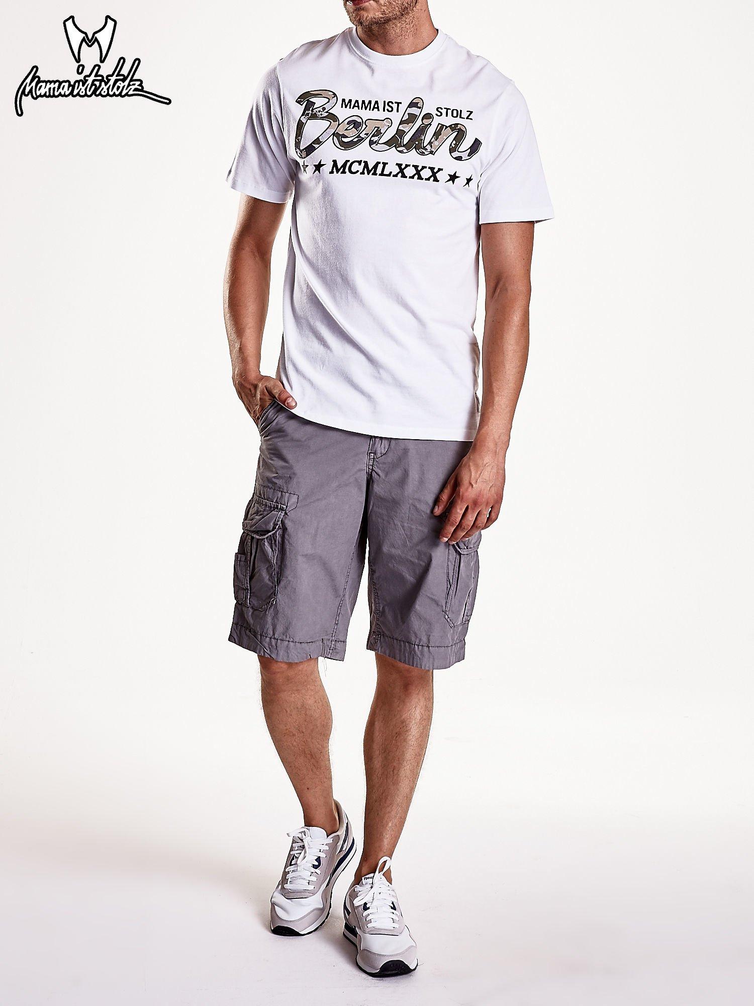 Biały t-shirt męski z nadrukiem moro                                  zdj.                                  8