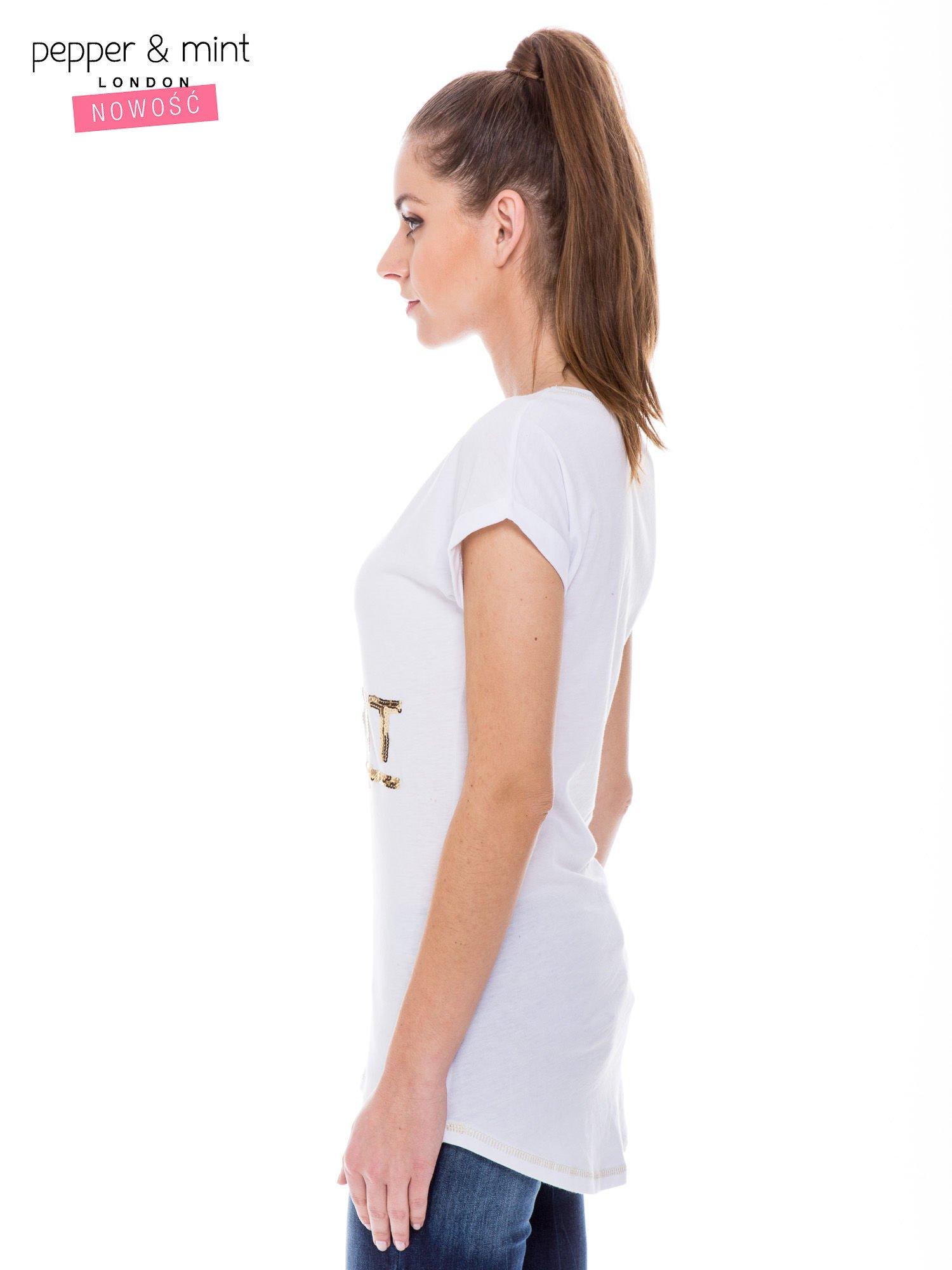 Biały t-shirt z cekinowym nadrukiem w stylu glamour                                  zdj.                                  2