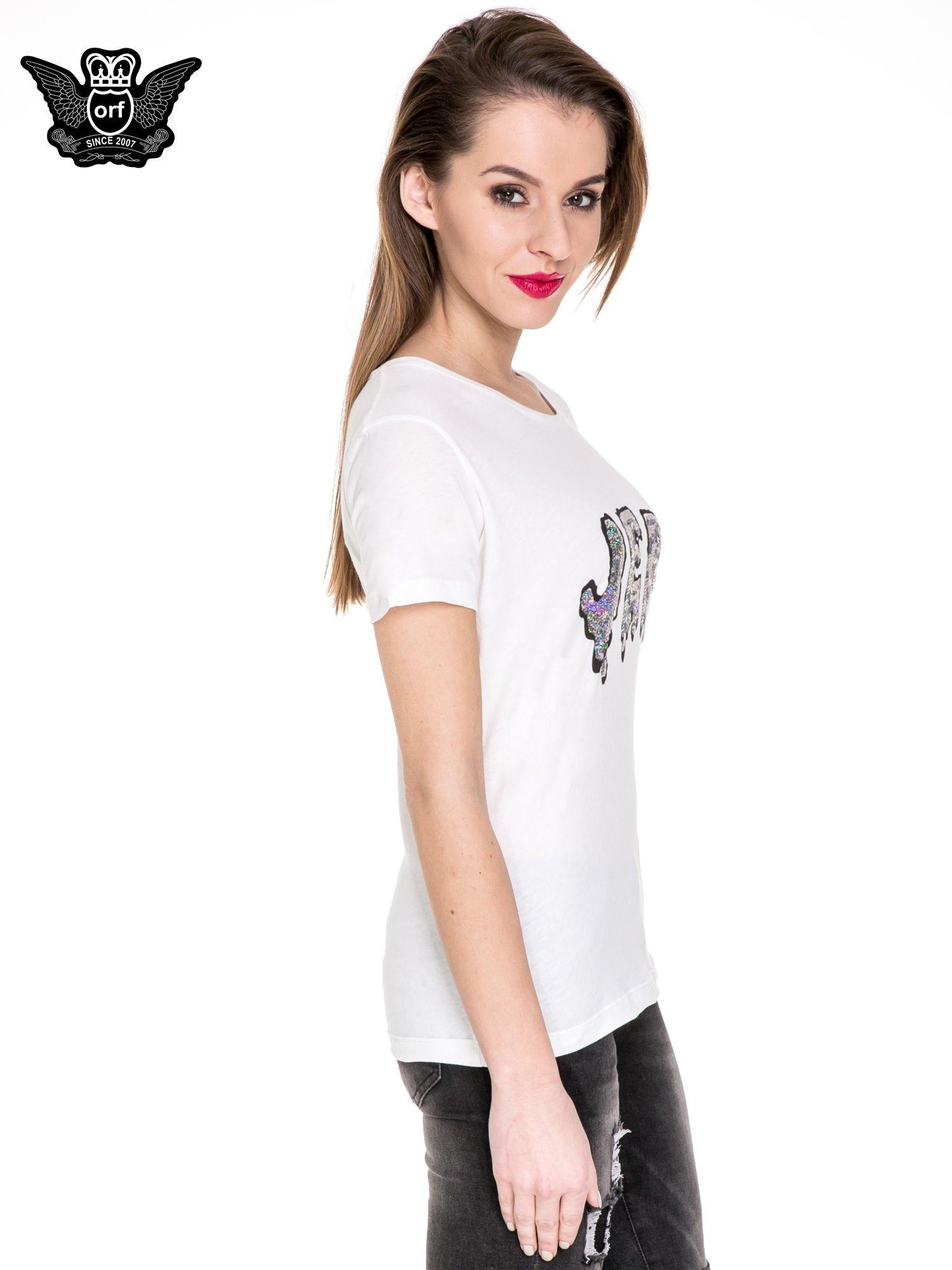 Biały t-shirt z metalicznym napisem JERK                                  zdj.                                  3