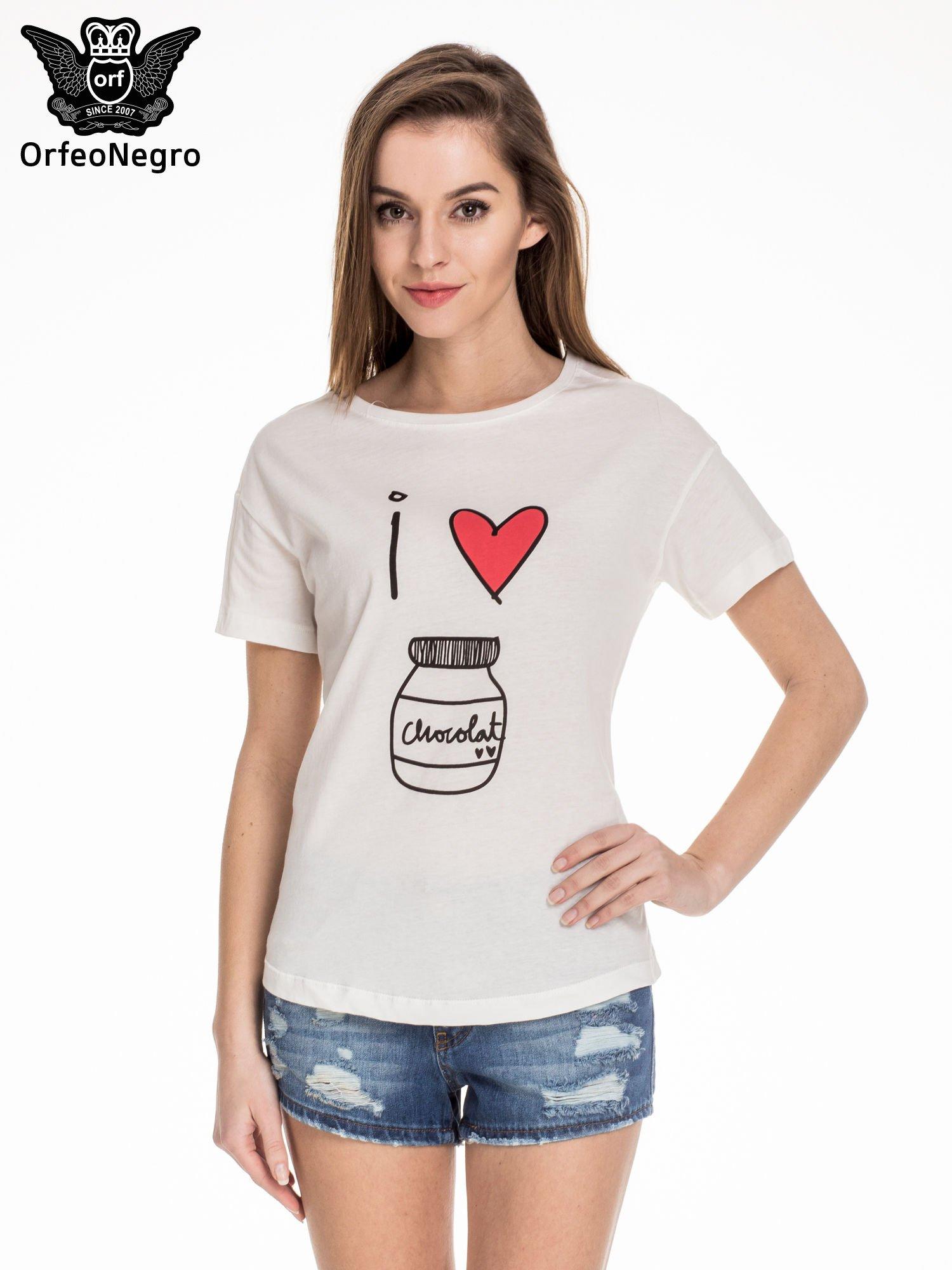 Biały t-shirt z nadrukiem I LOVE CHOCOLAT                                  zdj.                                  1