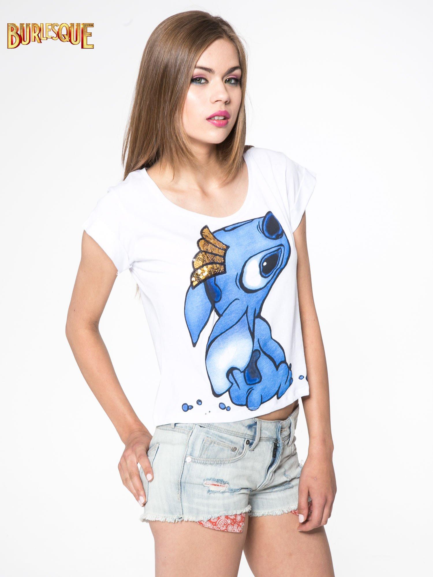 Biały t-shirt z nadrukiem Stich                                  zdj.                                  3