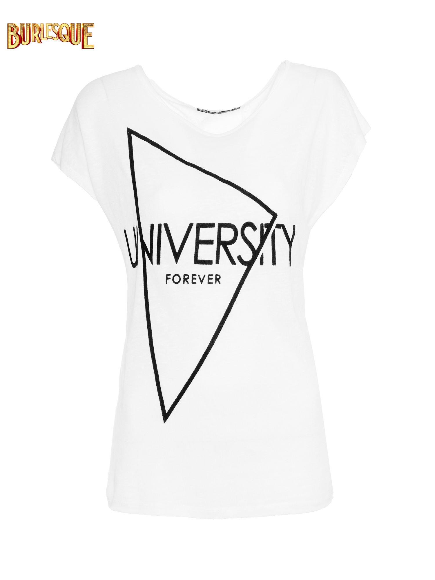 Biały t-shirt z nadrukiem UNIVERSITY FORVER                                  zdj.                                  1