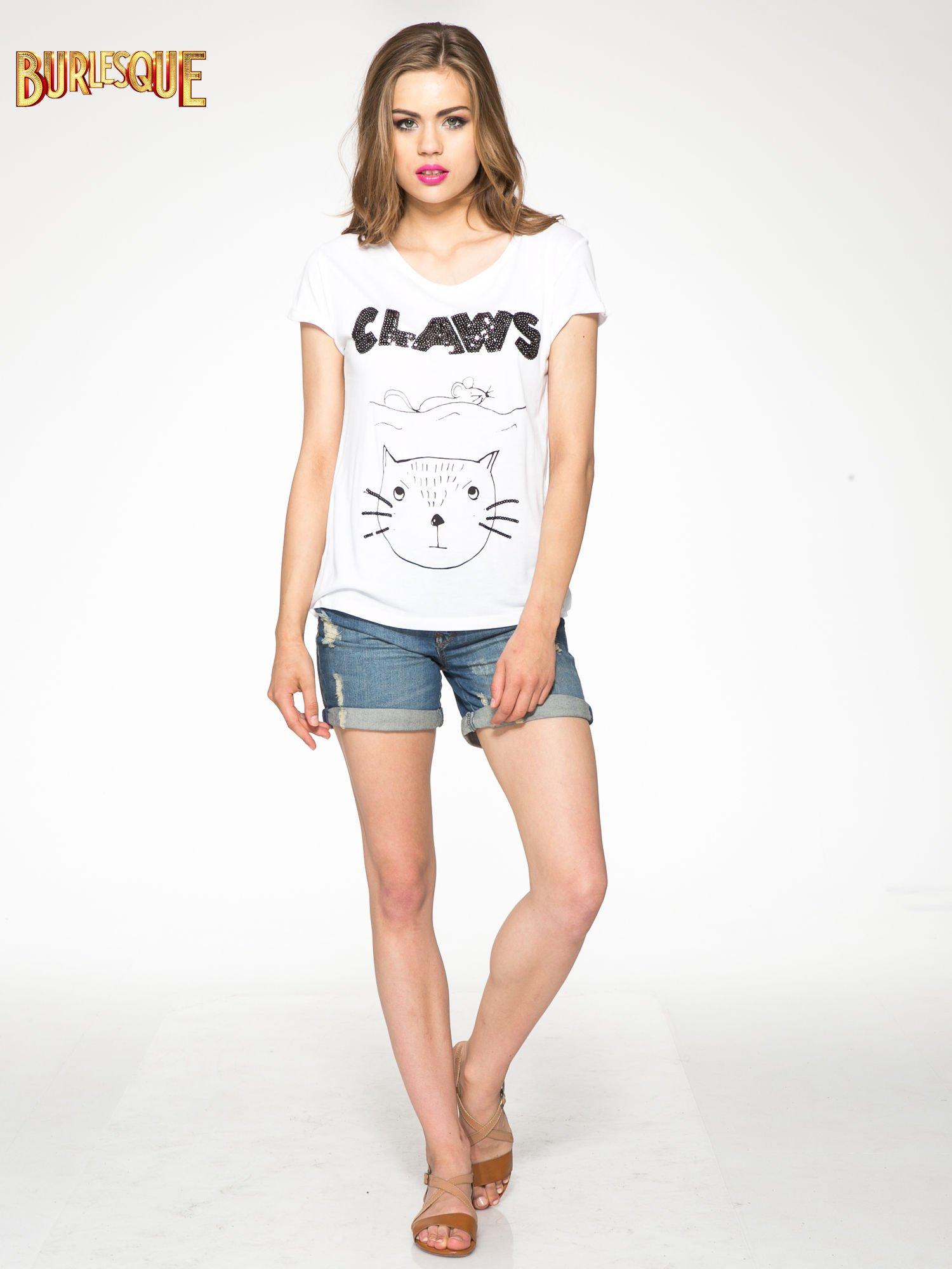 Biały t-shirt z nadrukiem kota i myszy                                  zdj.                                  2