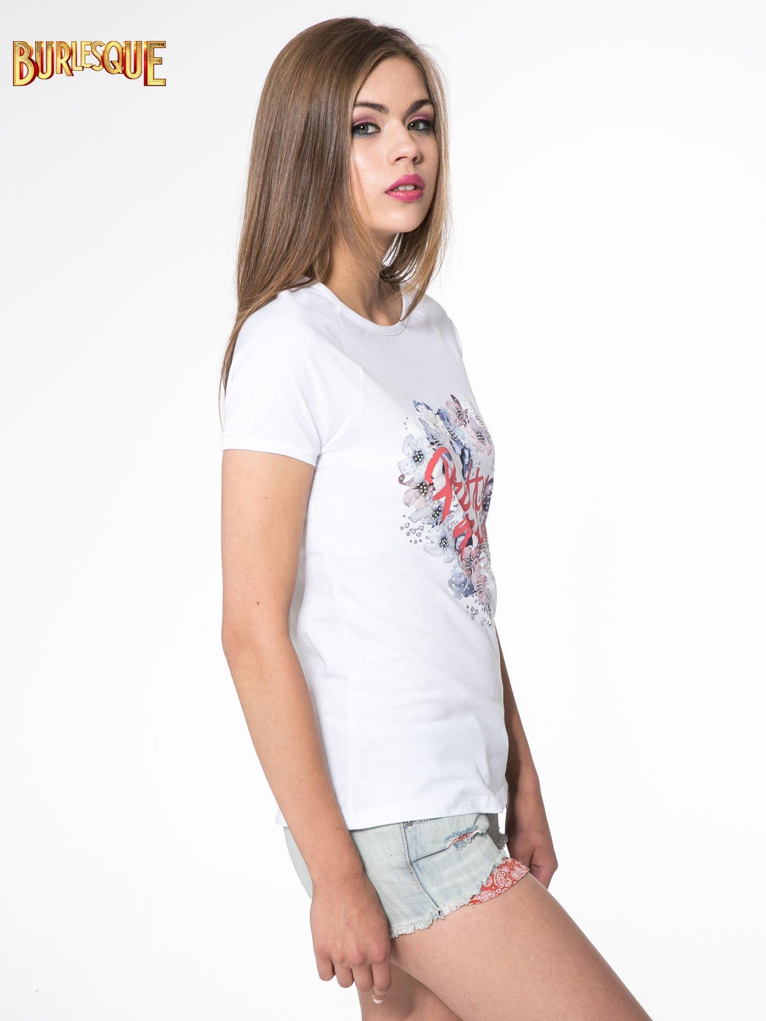 Biały t-shirt z nadrukiem kwiatowym PRETTY GIRL                                  zdj.                                  3