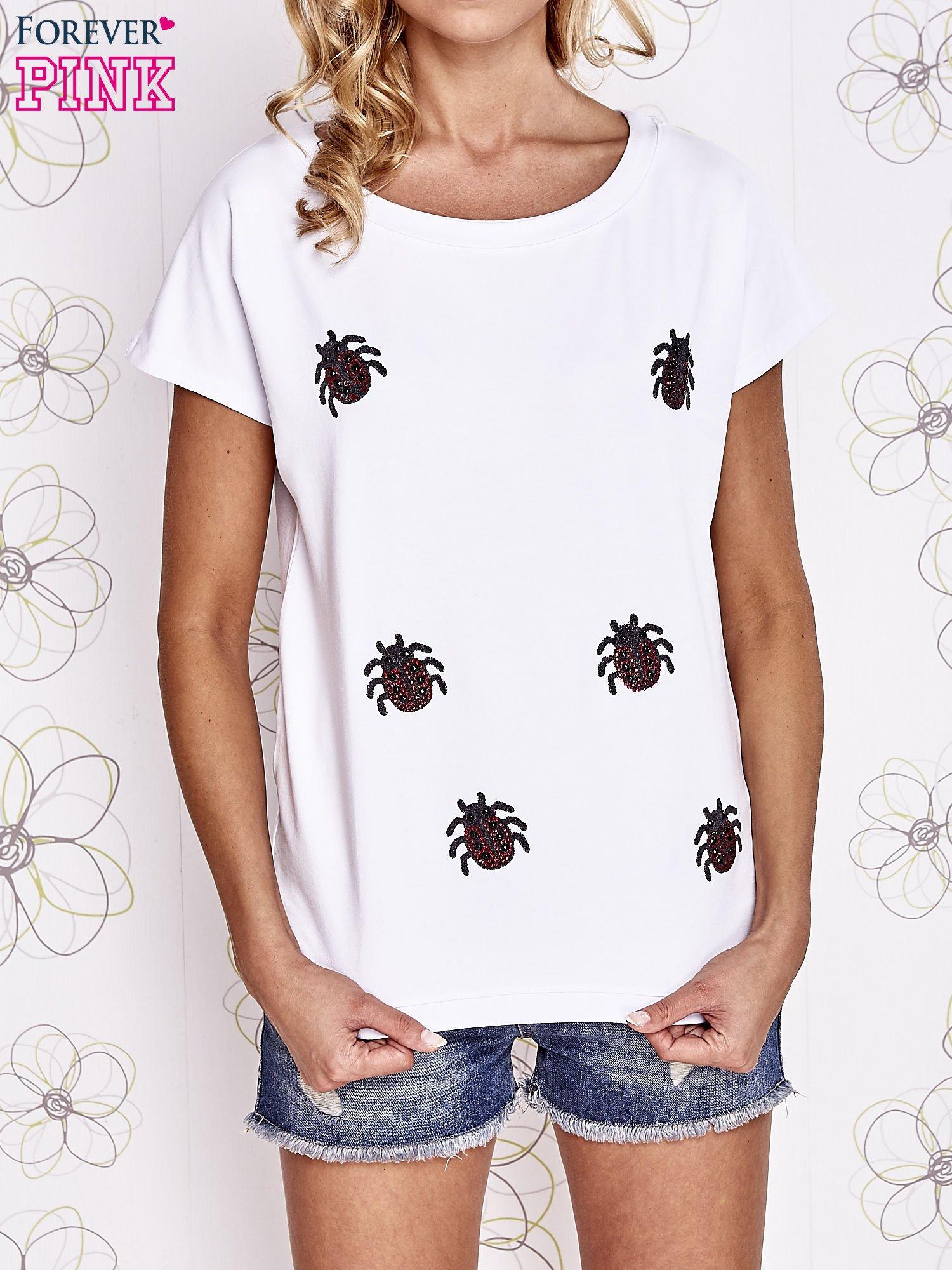 Biały t-shirt z nadrukiem owadów                                  zdj.                                  1