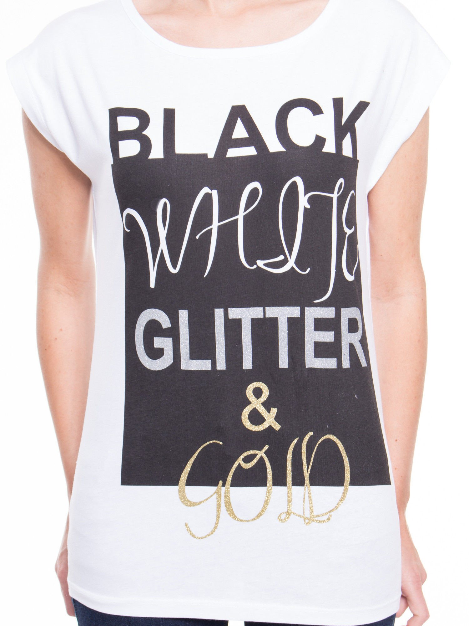 Biały t-shirt z nadrukiem tekstowym z efektem glitter                                  zdj.                                  4