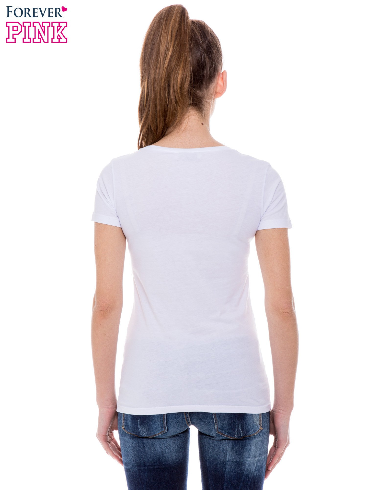 Biały t-shirt z nadrukiem ust KISS                                  zdj.                                  4