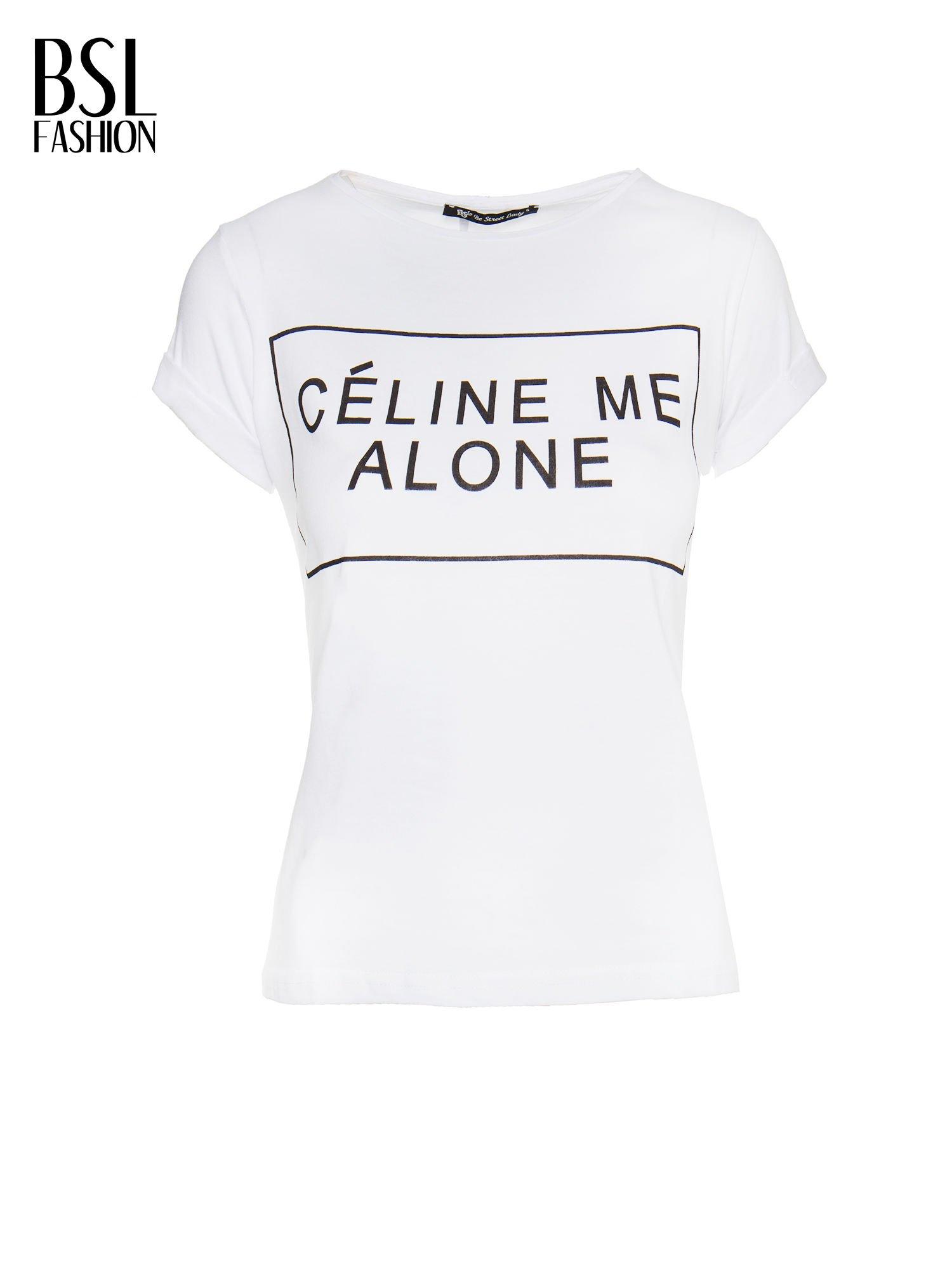 Biały t-shirt z napisem CÉLINE ME ALONE                                  zdj.                                  2