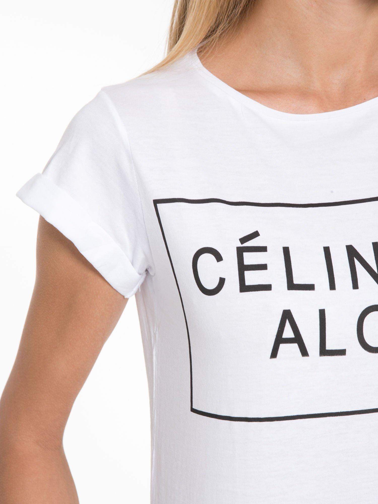 Biały t-shirt z napisem CÉLINE ME ALONE                                  zdj.                                  7