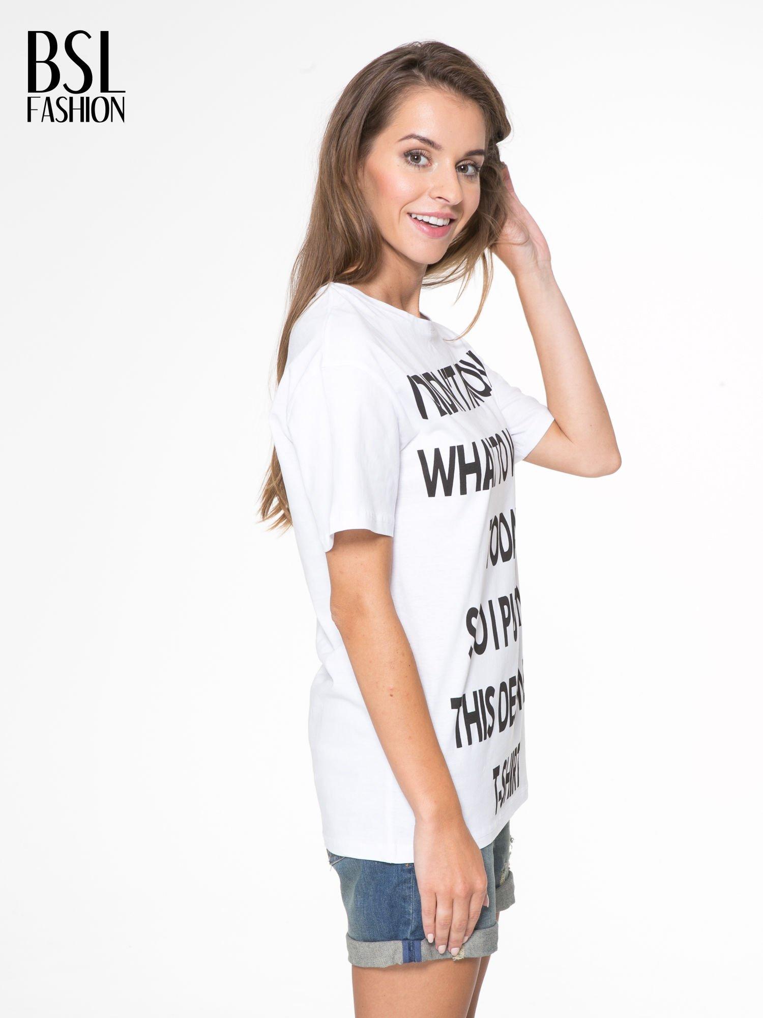 Biały t-shirt z napisem I'DONT KNOW WHAT TO WEAR TODAY                                  zdj.                                  3