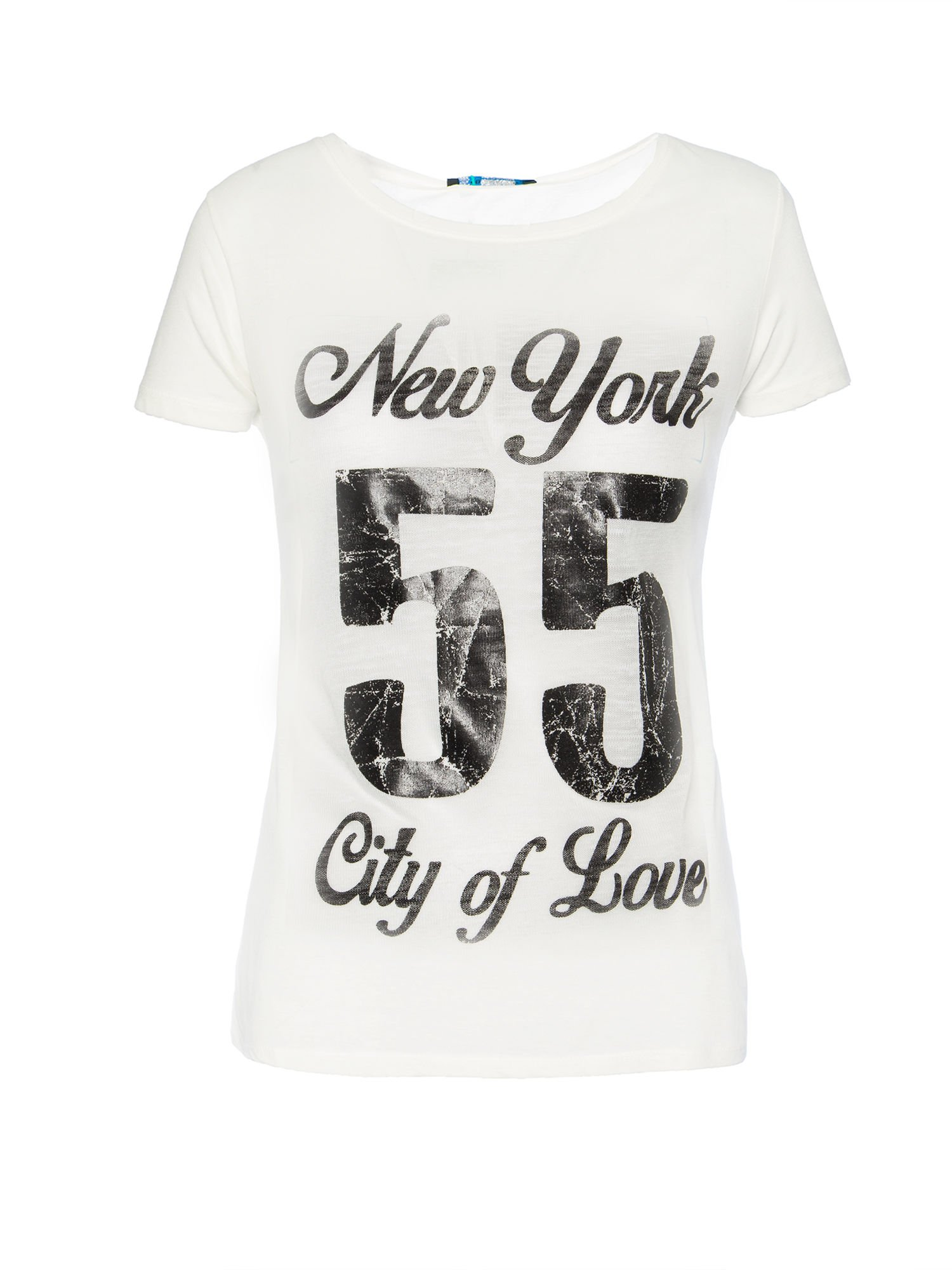 Biały t-shirt z napisem NEW YORK CITY OF LOVE 55                                  zdj.                                  1