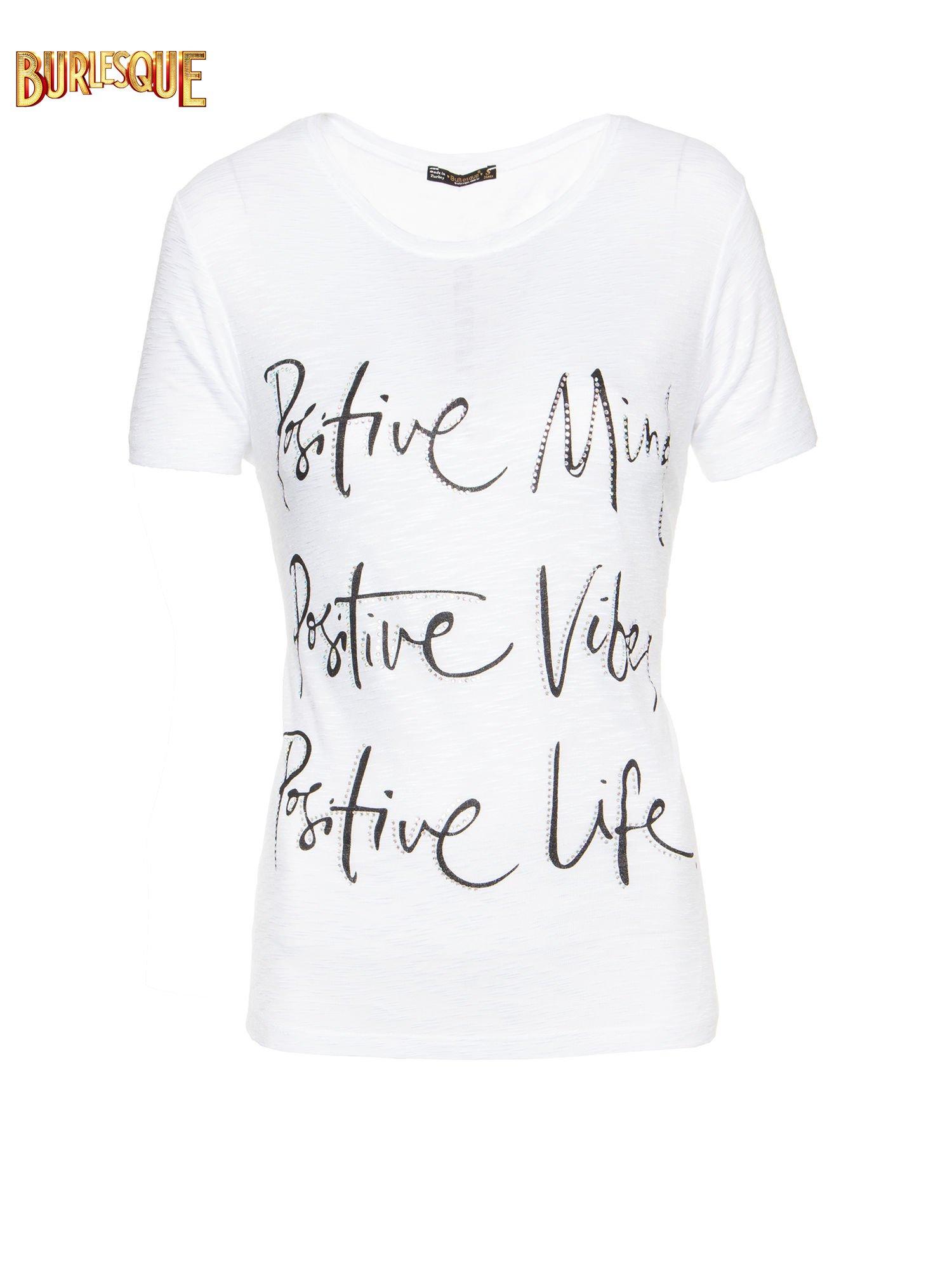 Biały t-shirt z napisem POSITIVE MIND z dżetami                                  zdj.                                  7