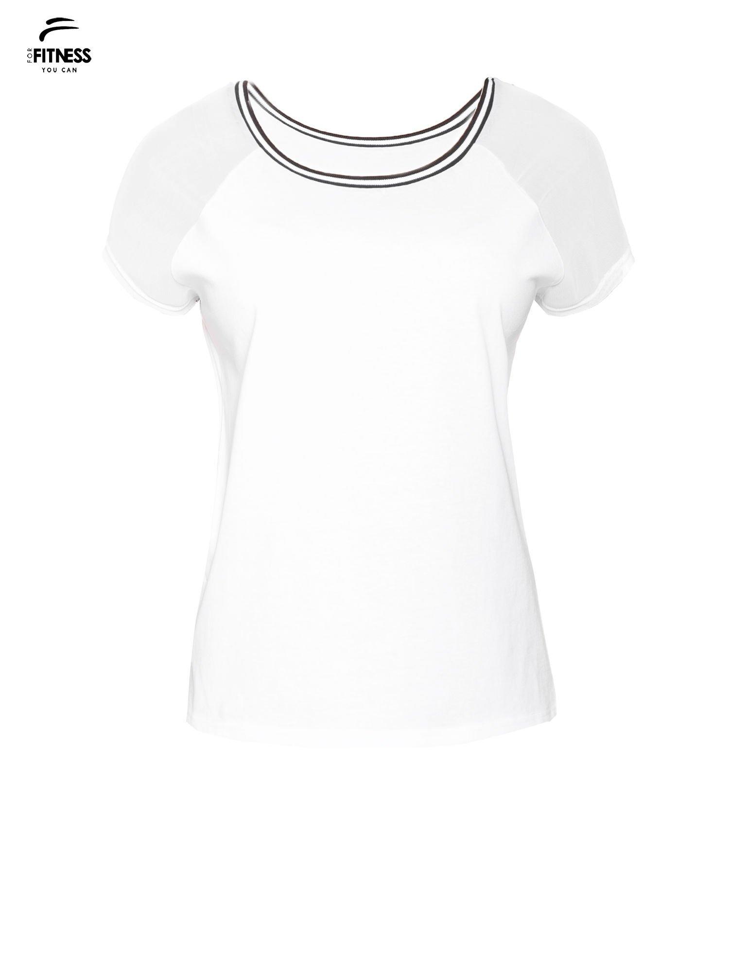 Biały t-shirt z transparentnymi rękawami                                  zdj.                                  2