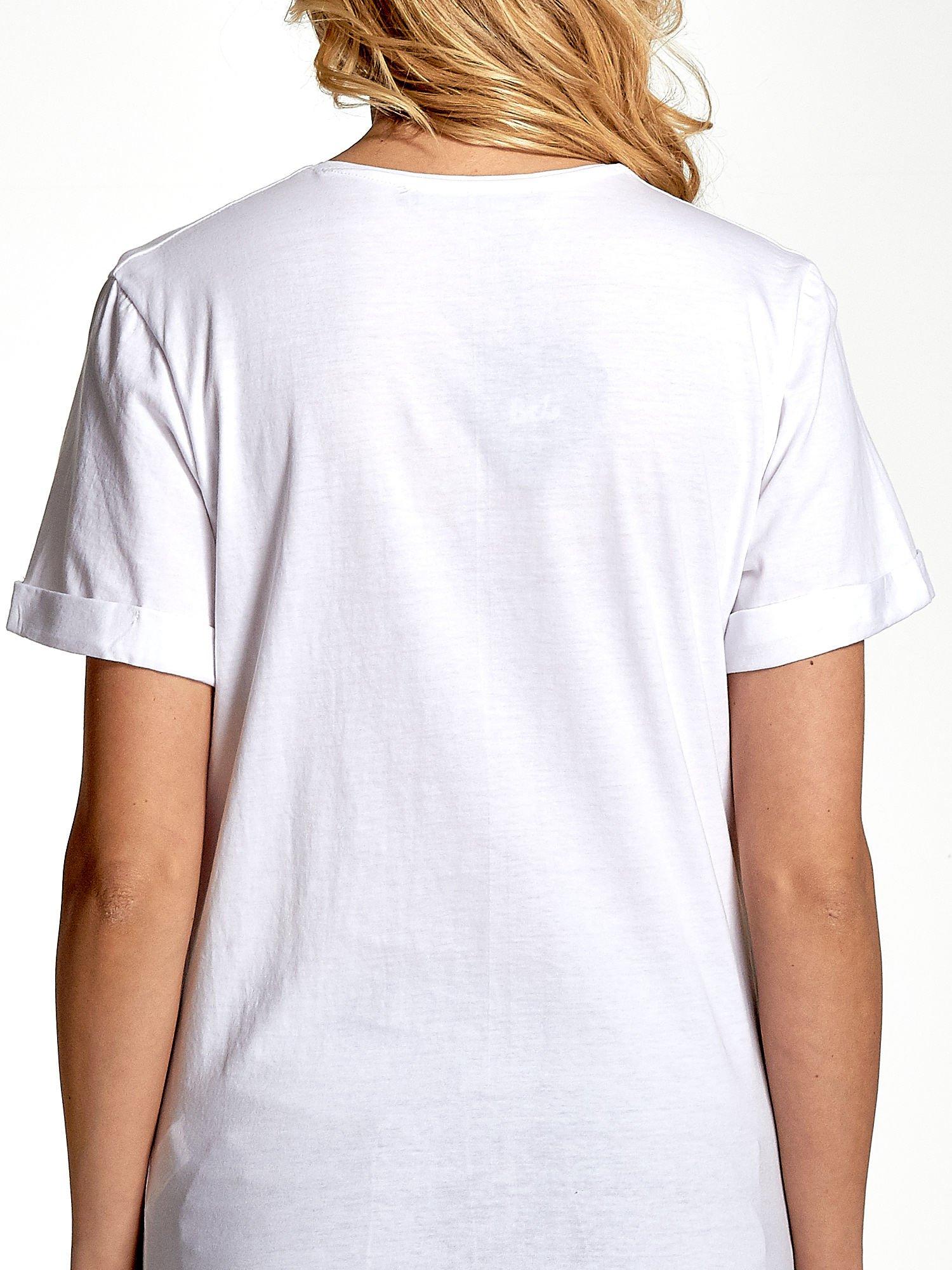 Biały t-shirt ze złotym nadrukiem orła i napisem BOY LONDON                                  zdj.                                  5