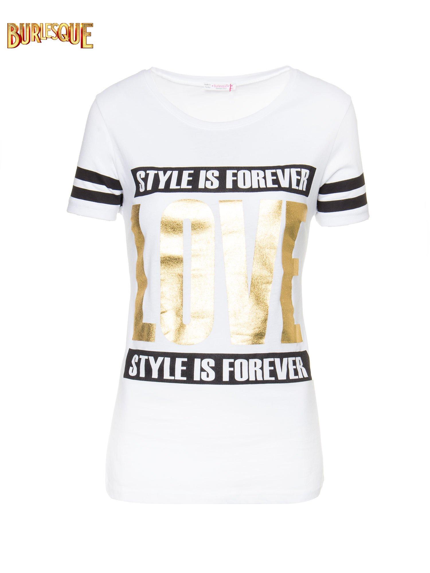 Biały t-shirt ze złotym napisem LOVE                                  zdj.                                  6