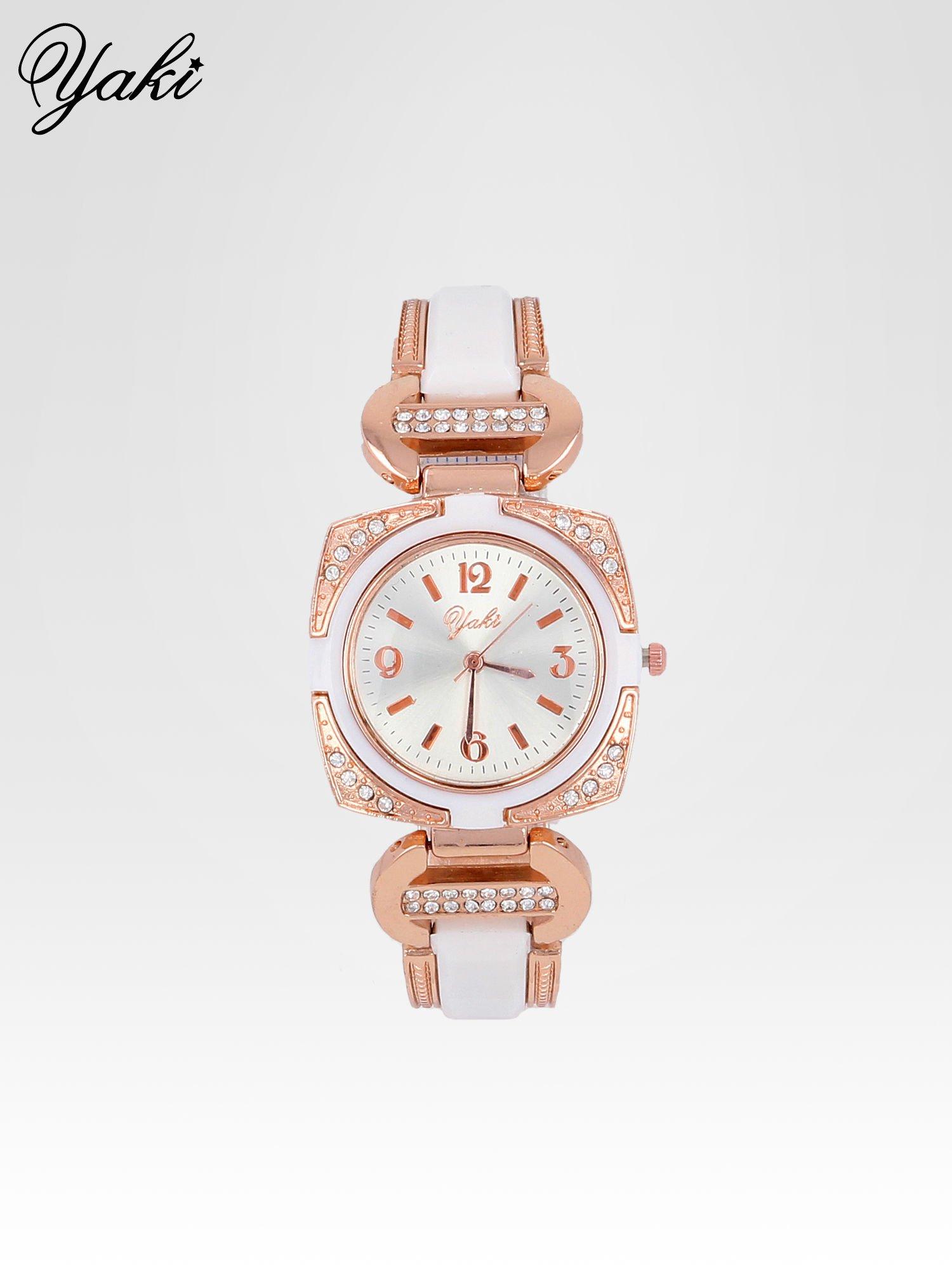 Biżuteryjny zegarek damski w kolorze różowego złota z łączonych materiałów                                  zdj.                                  1