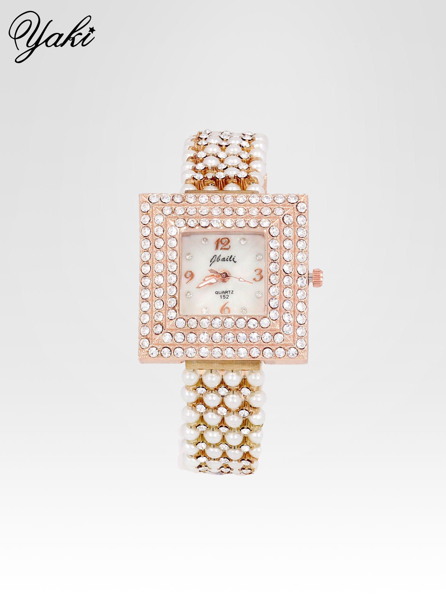 Biżuteryjny zegarek damski z różowego złota na bransolecie z cyrkoniami i perłami                                  zdj.                                  1