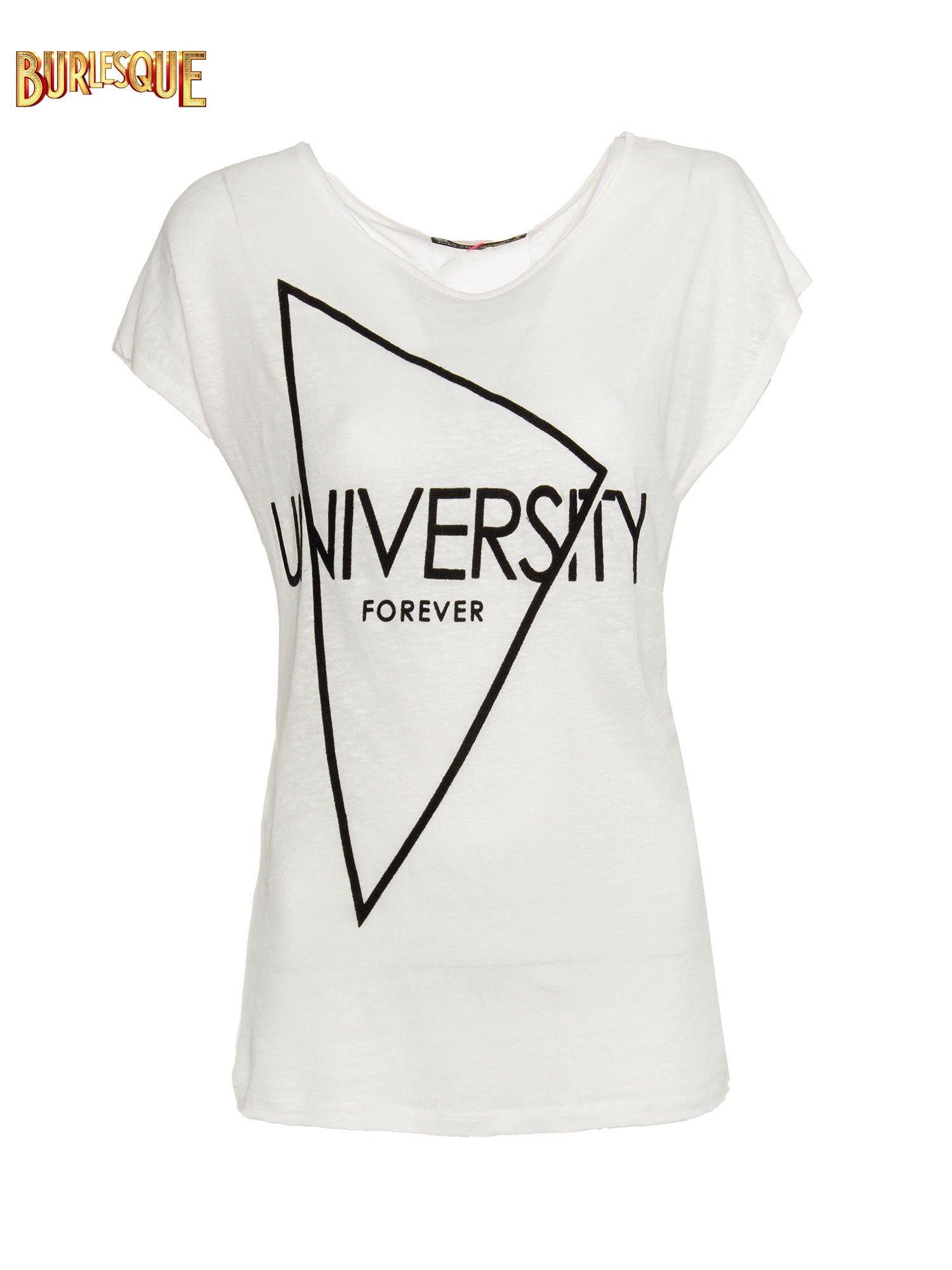 Blady ecru t-shirt z nadrukiem UNIVERSITY FORVER                                  zdj.                                  1