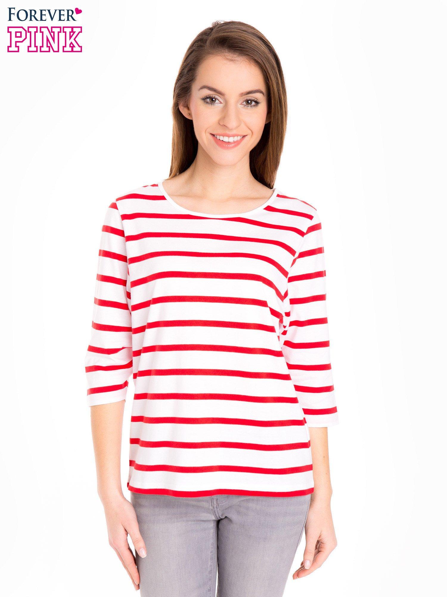 fd70bb2b9c Bluzka basic w biało-czerwone paski - Bluzka longsleeves - sklep ...