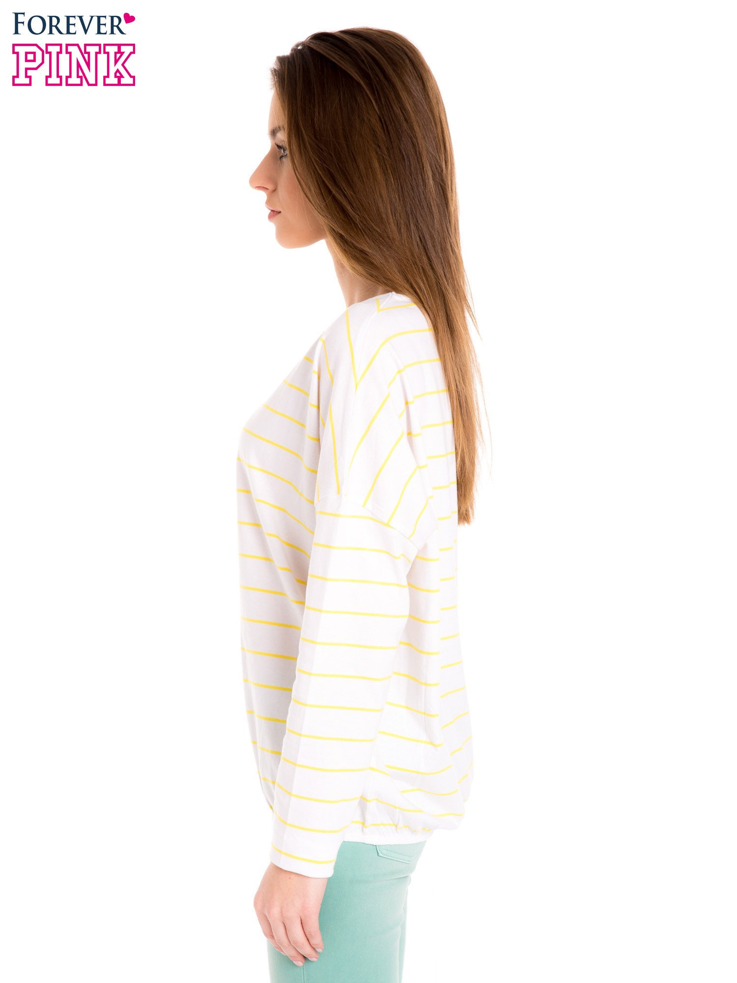 Bluzka w biało-żółte paski z gumką u dołu                                  zdj.                                  3