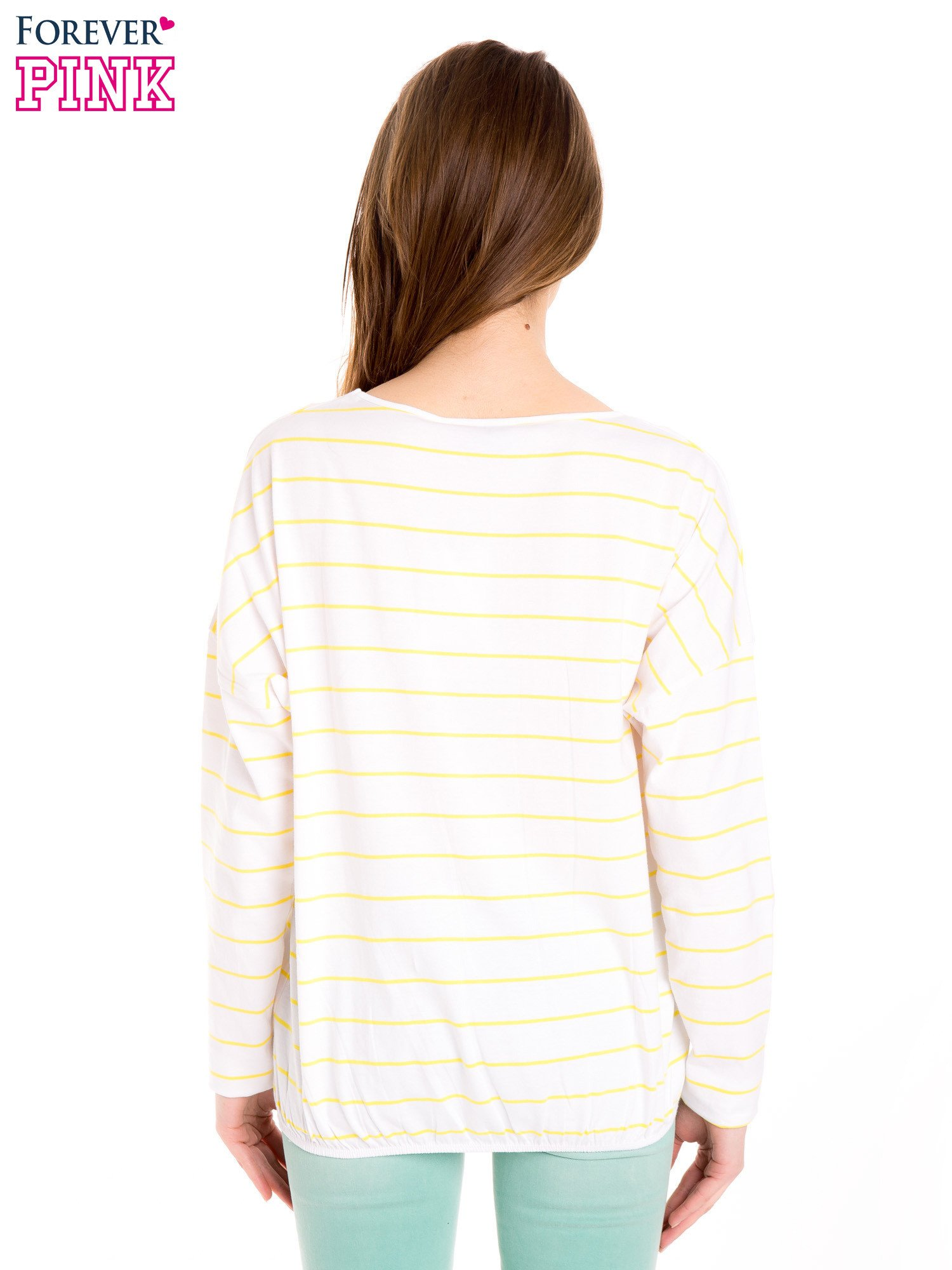 Bluzka w biało-żółte paski z gumką u dołu                                  zdj.                                  4