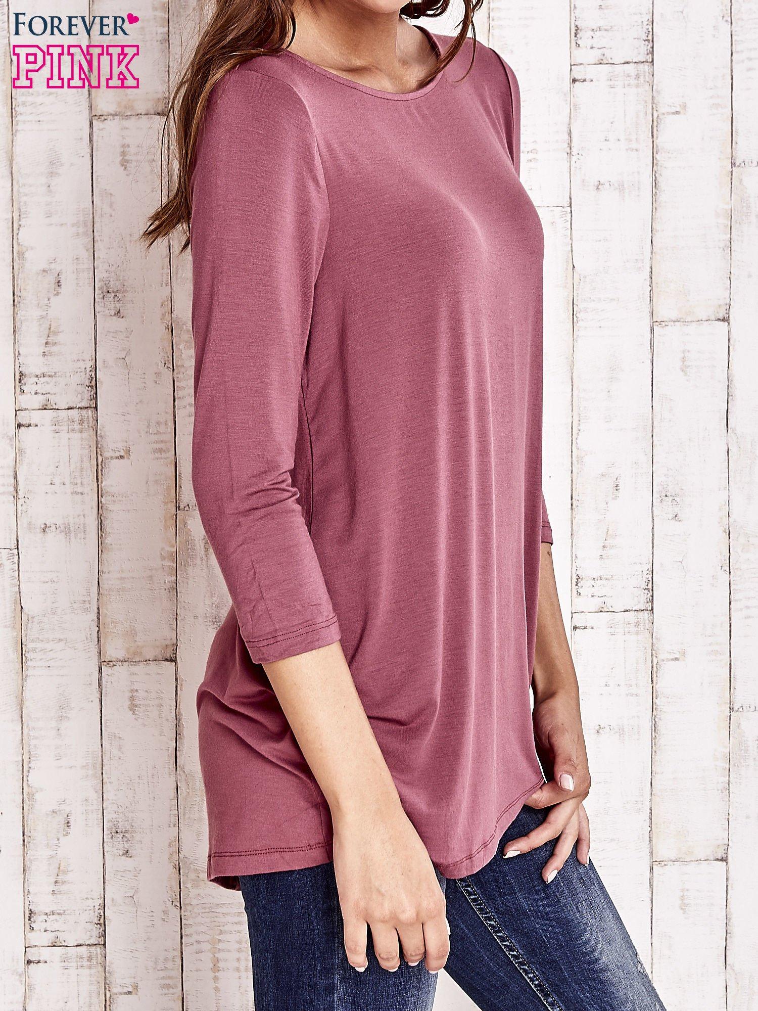 Bordowa bluzka z zapięciem typu łezka na placach                                  zdj.                                  3