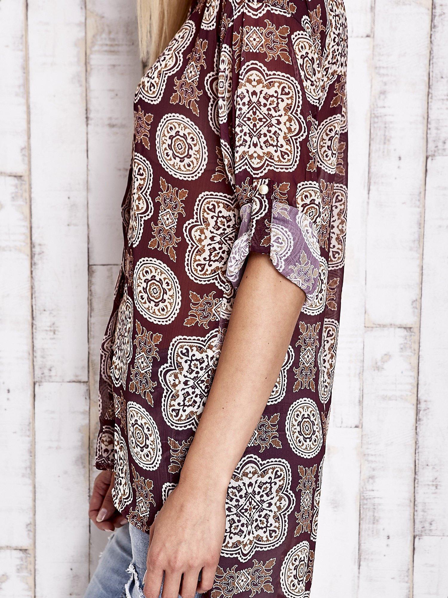 Bordowa koszula w ornamenty kwiatowe                                  zdj.                                  7