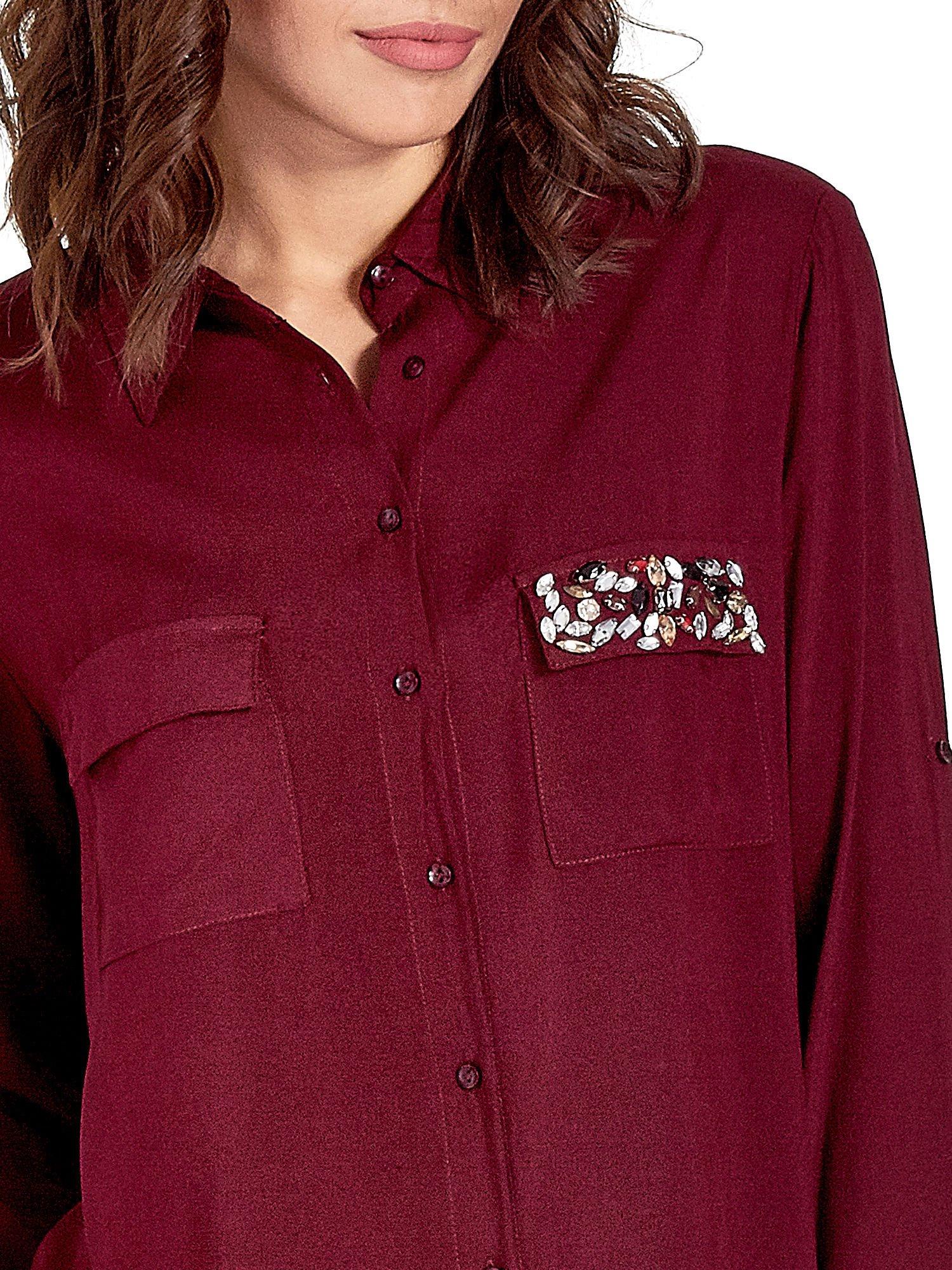 Bordowa koszula z biżuteryjną kieszonką                                  zdj.                                  6