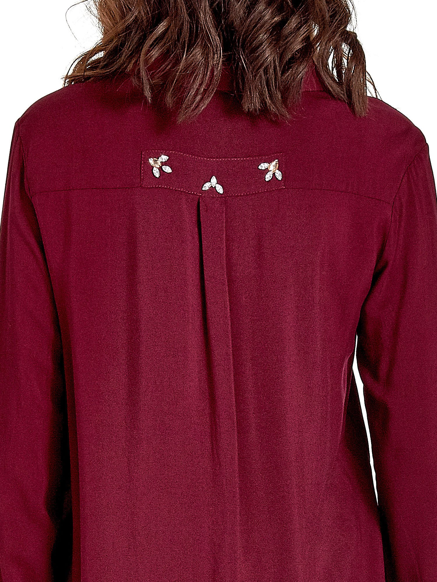 Bordowa koszula z biżuteryjną kieszonką                                  zdj.                                  7
