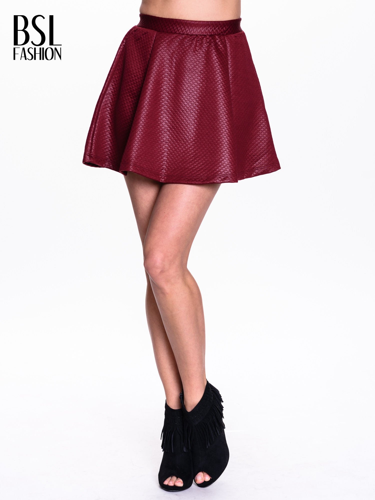 Bordowa pikowana spódnica mini ze skóry                                  zdj.                                  1
