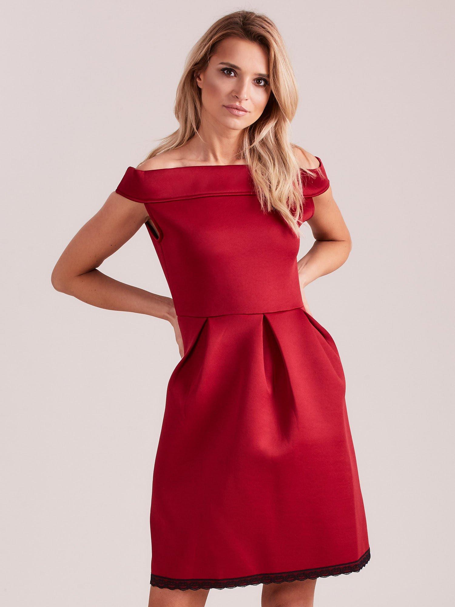b7f904e6 Bordowa rozkloszowana sukienka z pianki