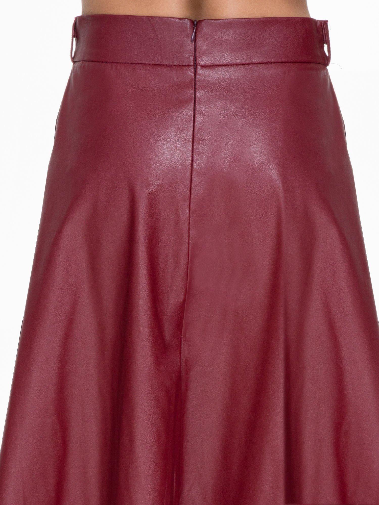 Bordowa skórzana spódnica midi szyta z półkola                                  zdj.                                  6