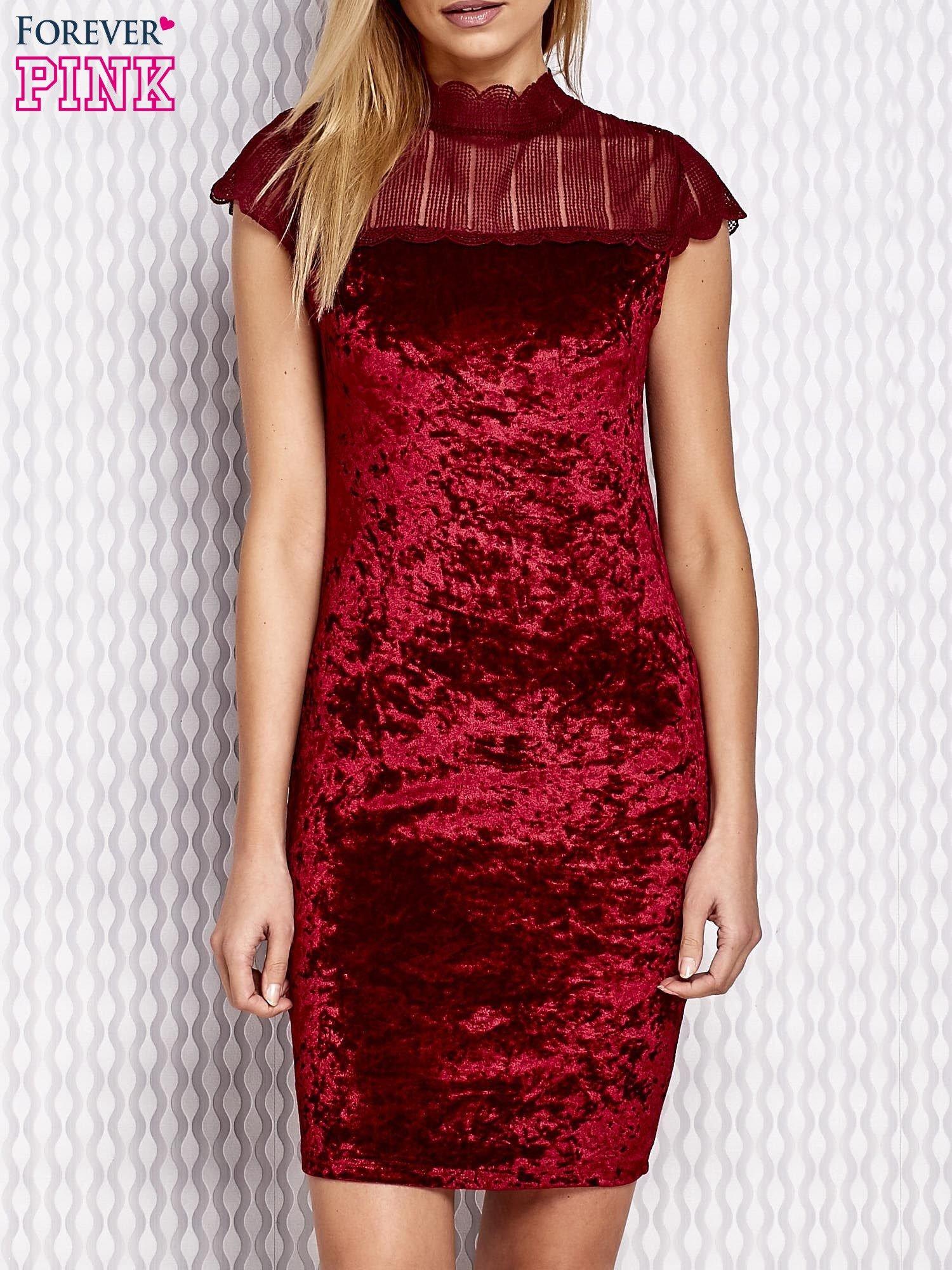 94ce8bf0f73305 Bordowa welurowa sukienka z ażurowym dekoltem - Sukienka wieczorowa ...