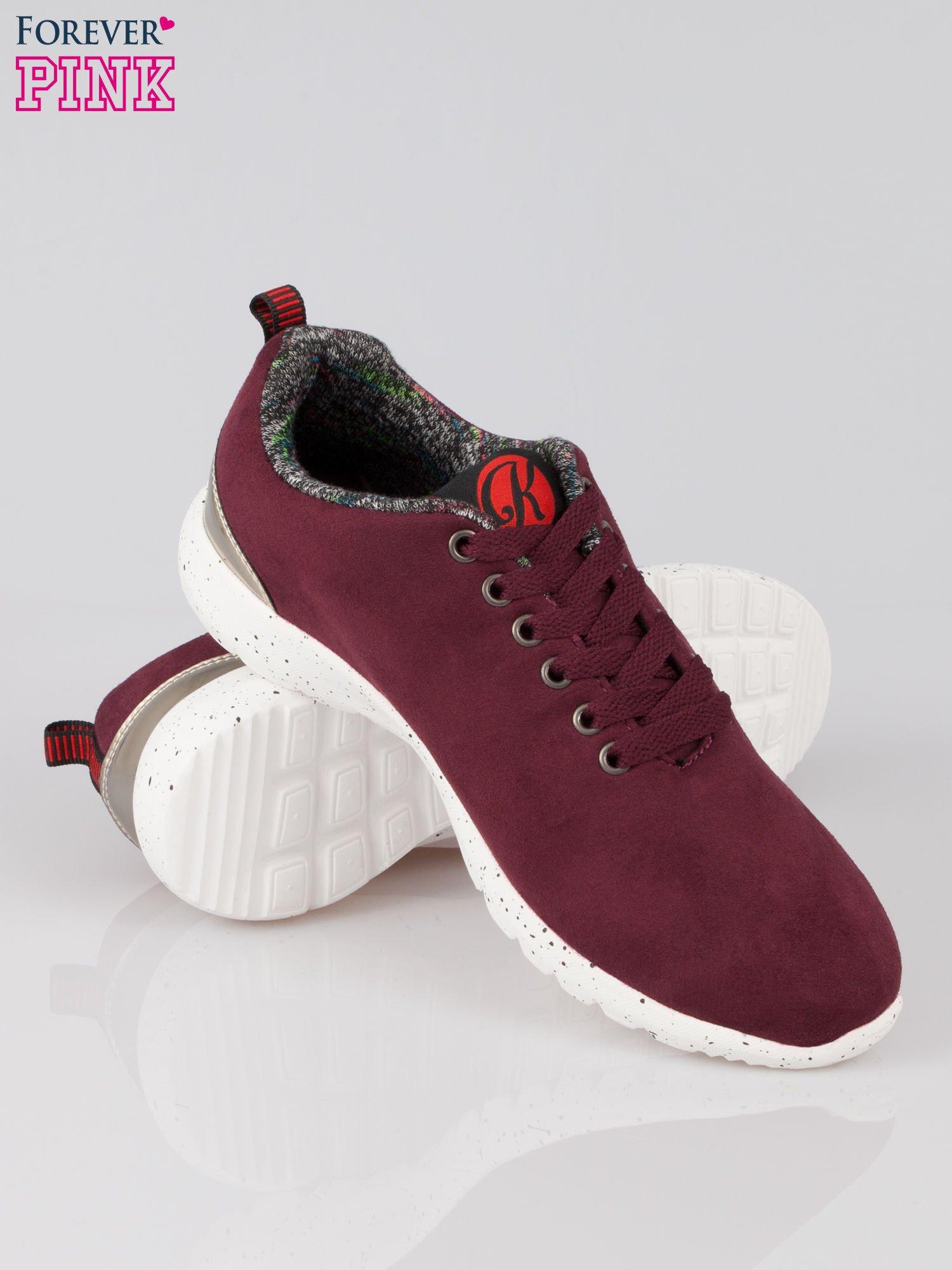 Bordowe buty sportowe faux suede Hollywood z zamszu                                  zdj.                                  4