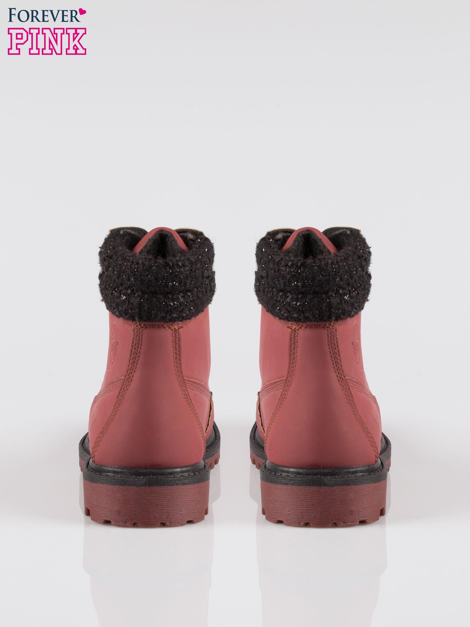 Bordowe buty trekkingowe traperki z ozdobnym kołnierzem                                  zdj.                                  3
