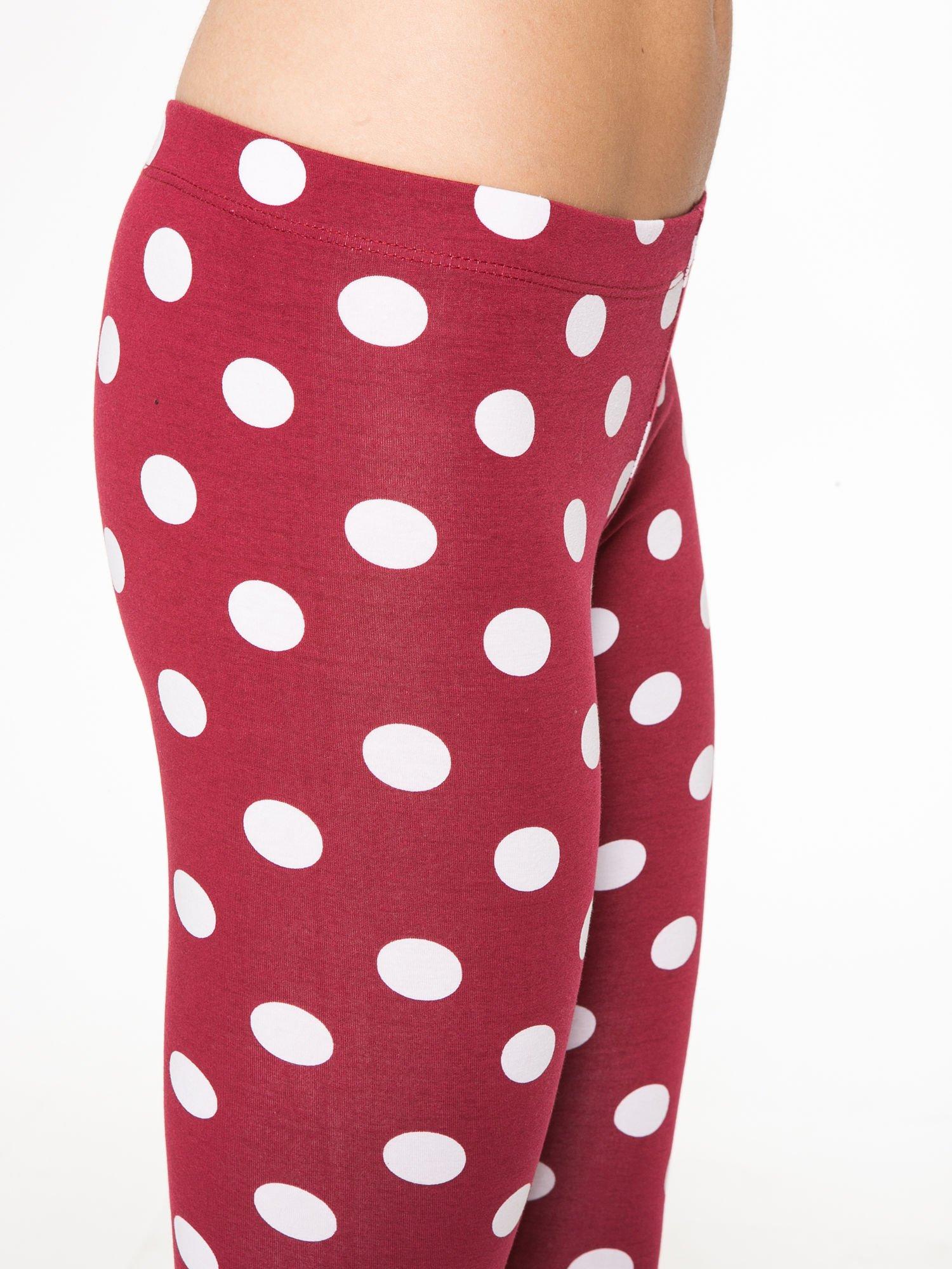 Bordowe legginsy w grochy                                  zdj.                                  7