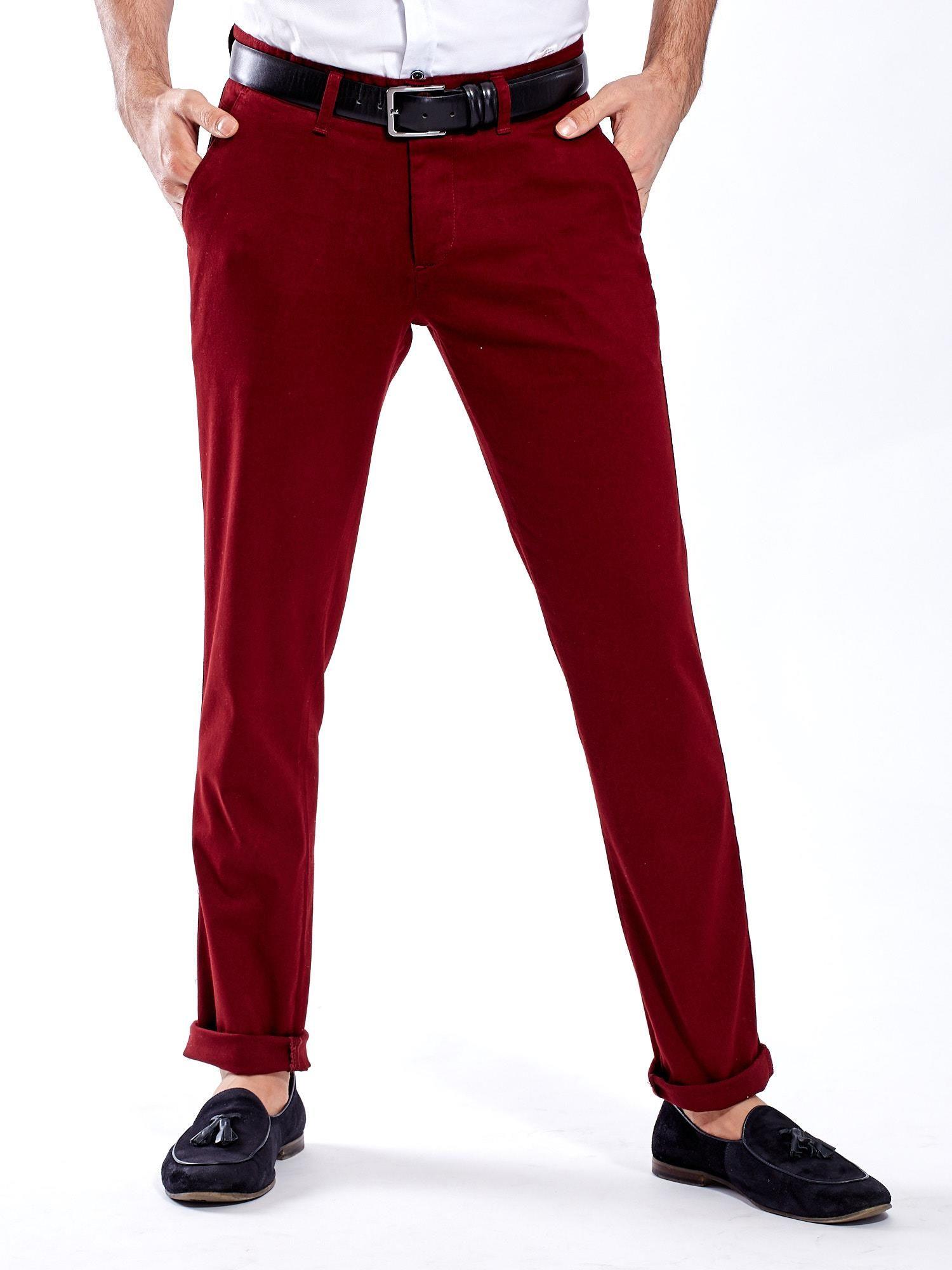 ee3c6a1d Bordowe spodnie męskie chinos - Mężczyźni Spodnie z materiału męskie ...