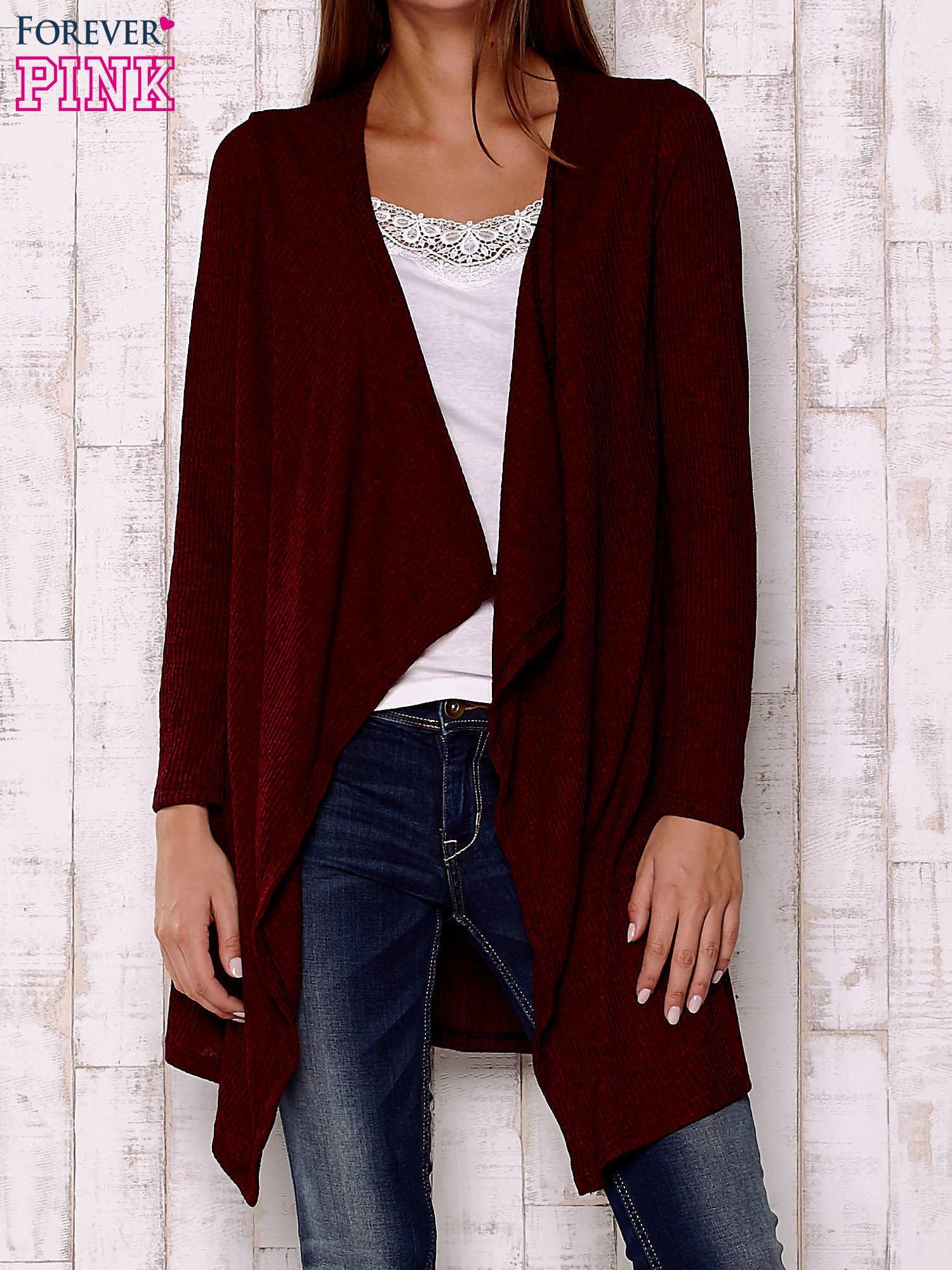 Bordowy melanżowy sweter z otwartym dekoltem                                  zdj.                                  1