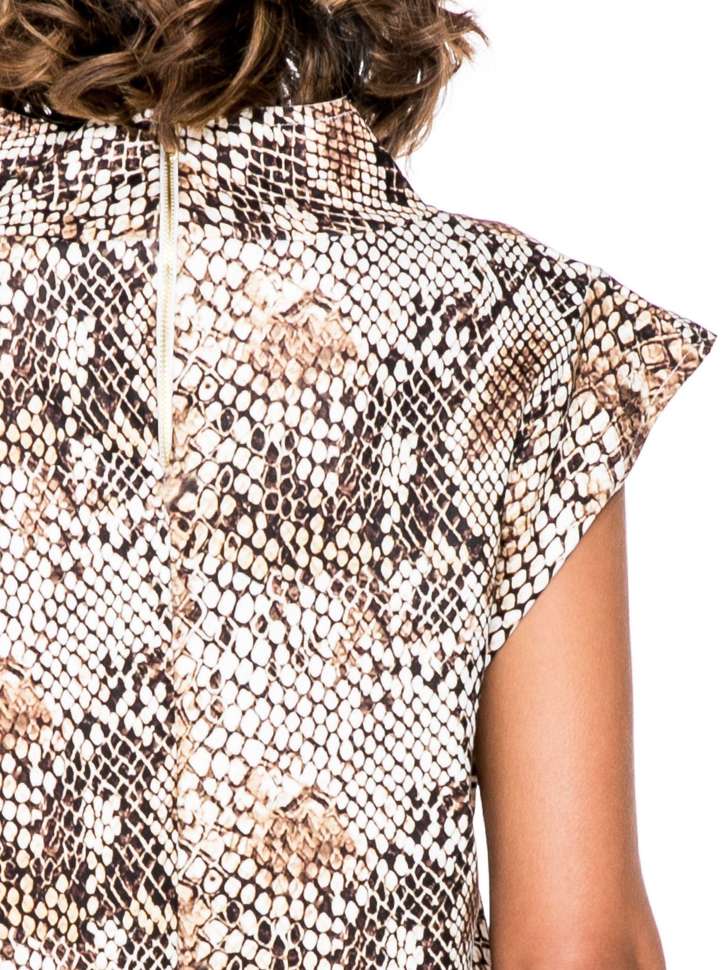 Brązowa bluzka z motywem snake print                                  zdj.                                  6