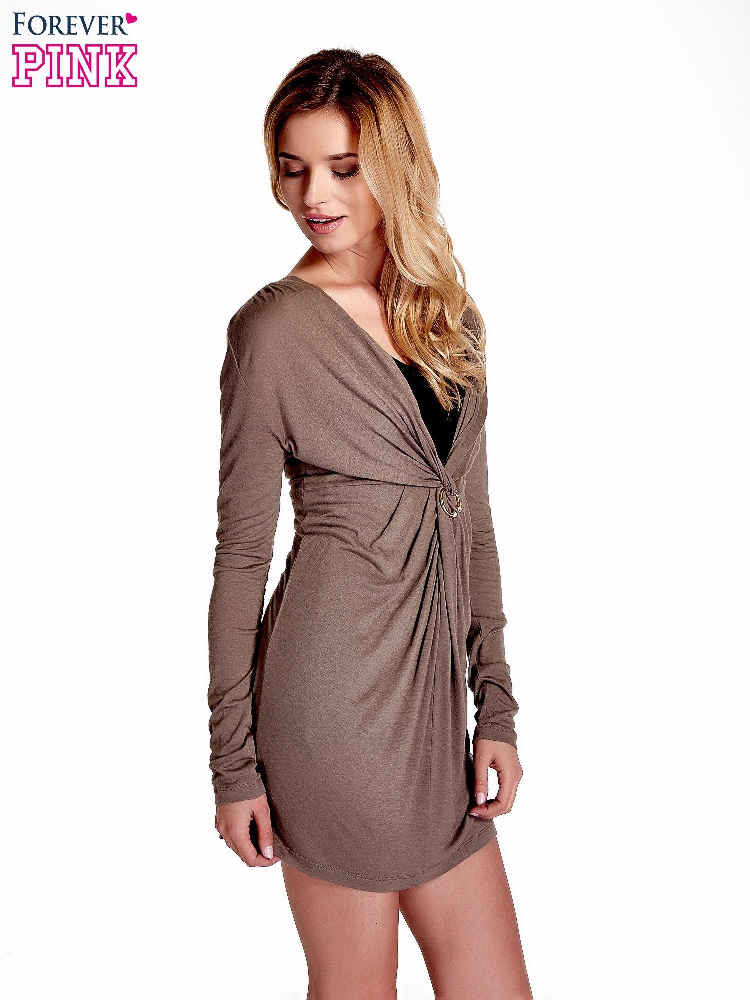 Brązowa drapowana sukienka                                   zdj.                                  3