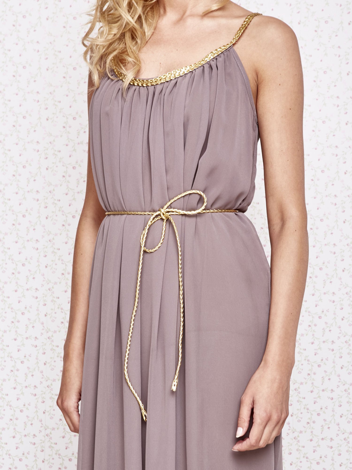 Brązowa grecka sukienka maxi ze złotym paskiem                                  zdj.                                  5