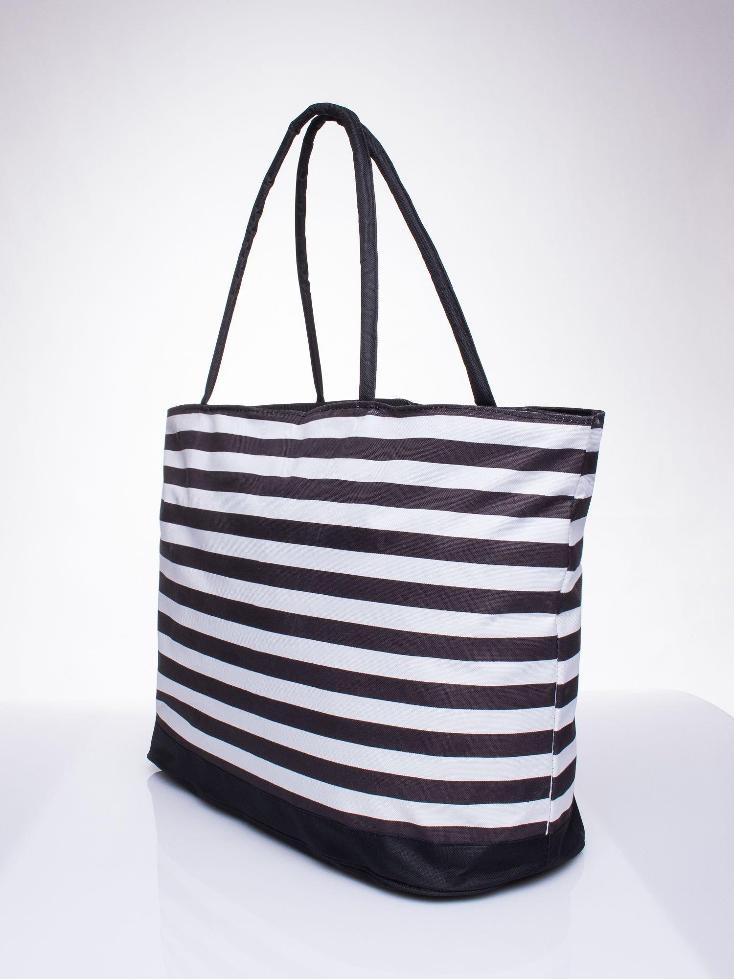 fc63c14dfb077 Brązowa torba plażowa w paski - Akcesoria torba - sklep eButik.pl