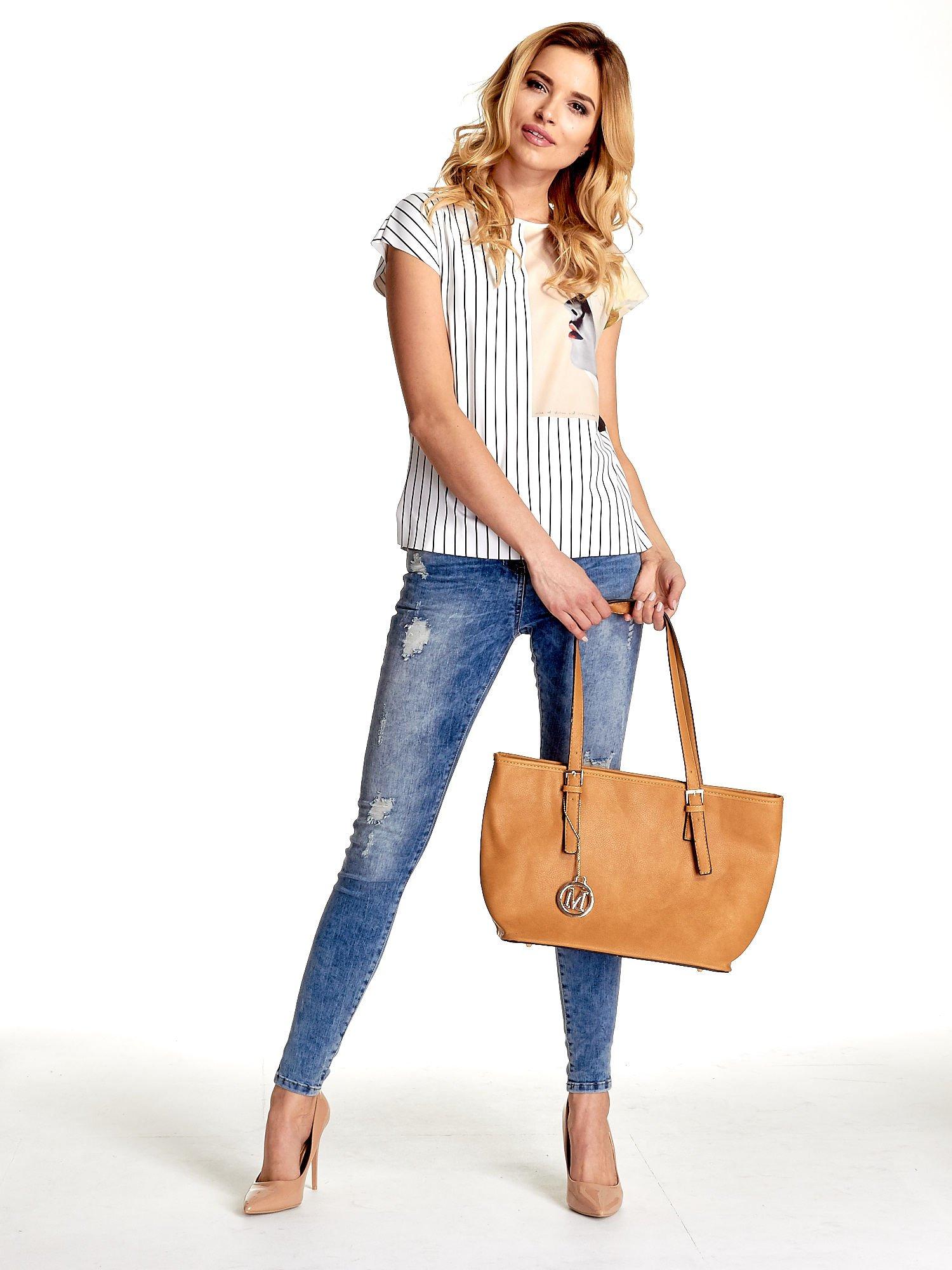 Brązowa torba shopper bag z regulowanymi rączkami                                  zdj.                                  6