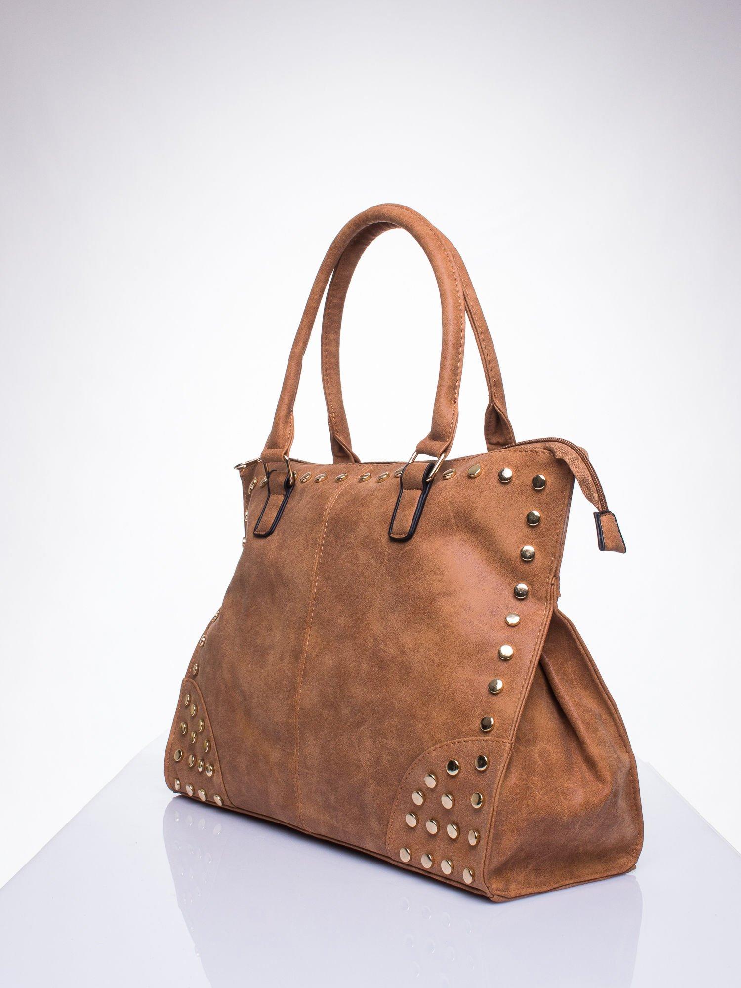 66f1477241c67 Brązowa torba shopper bag ze złotymi ćwiekami - Akcesoria torba - sklep  eButik.pl