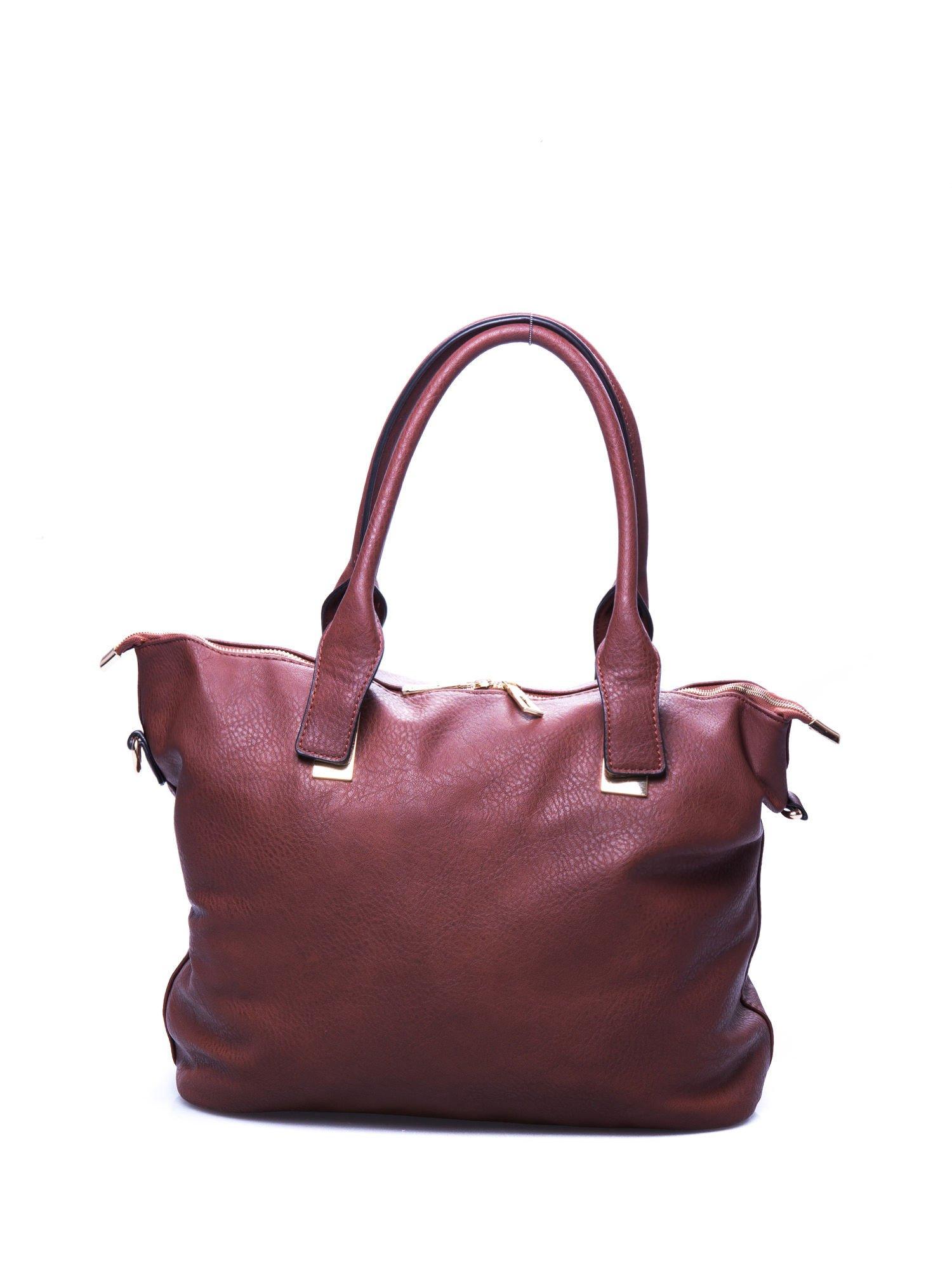 Brązowa torba shopper bag ze złotymi detalami                                  zdj.                                  1